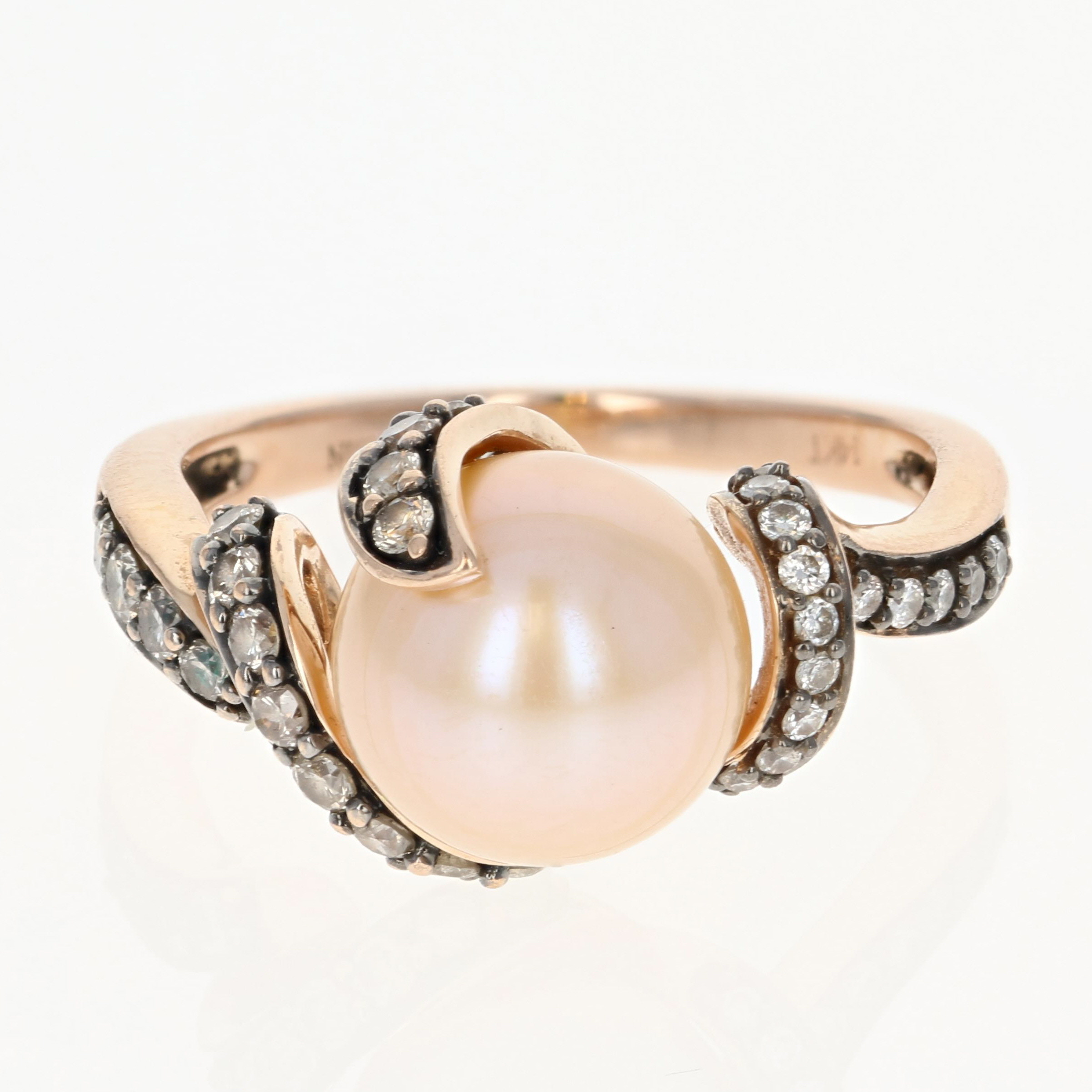 Le Vian Cultured Pearl & Diamond Bypass Ring 14k Rose Gold
