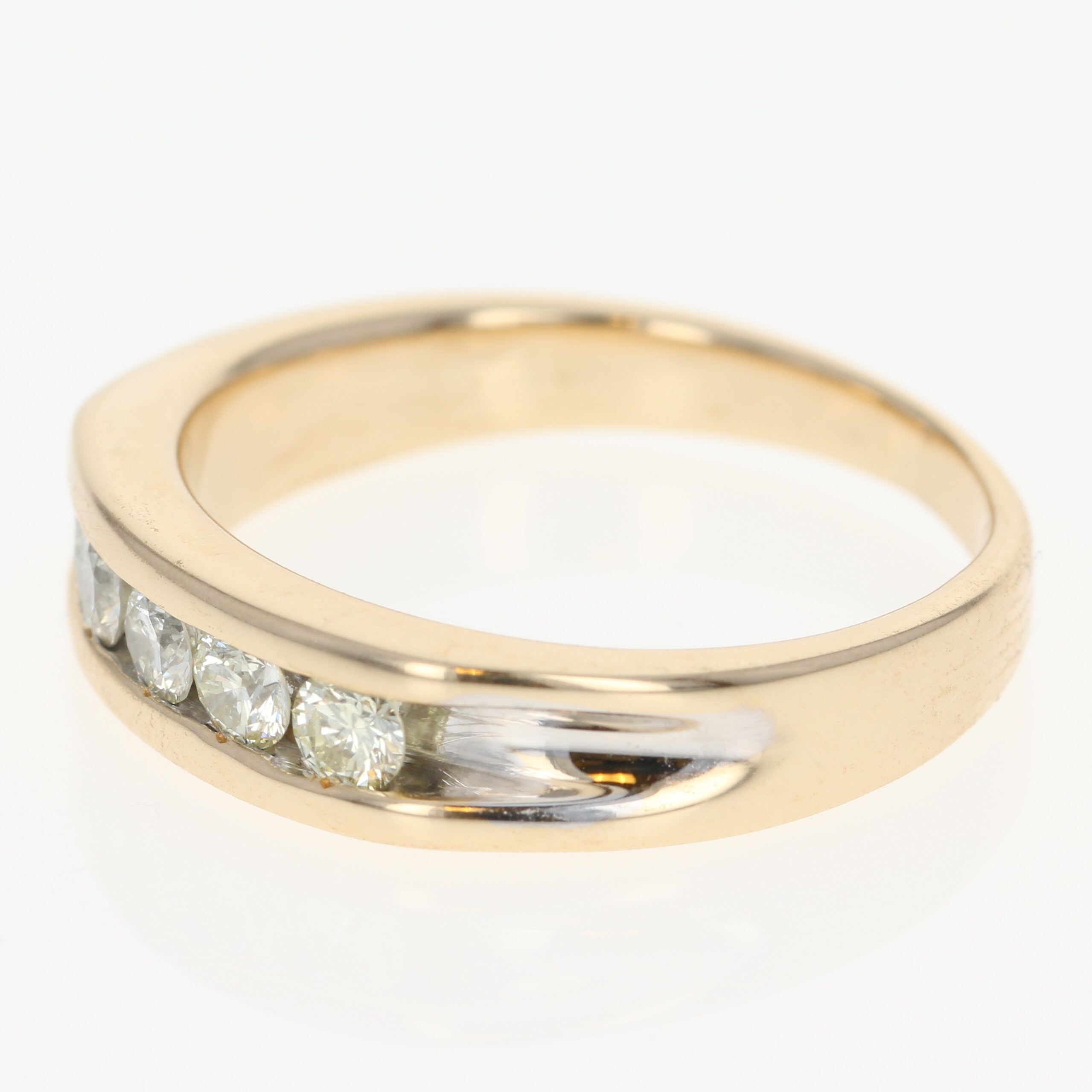 men s diamond wedding band 14k yellow gold channel set ring