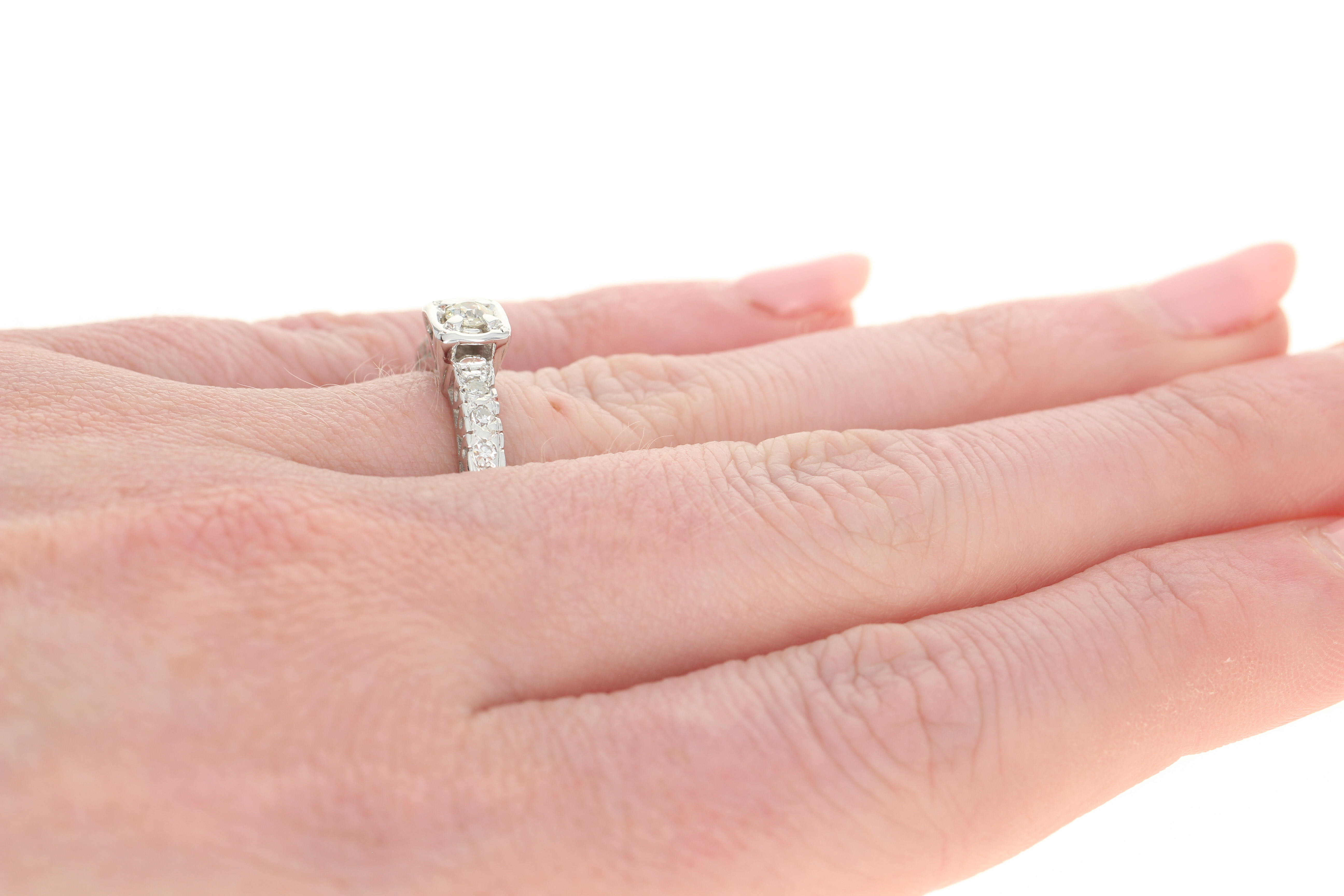 Vintage Diamond Engagement Ring - 14k White Gold Old Mine Cut .23ctw ...