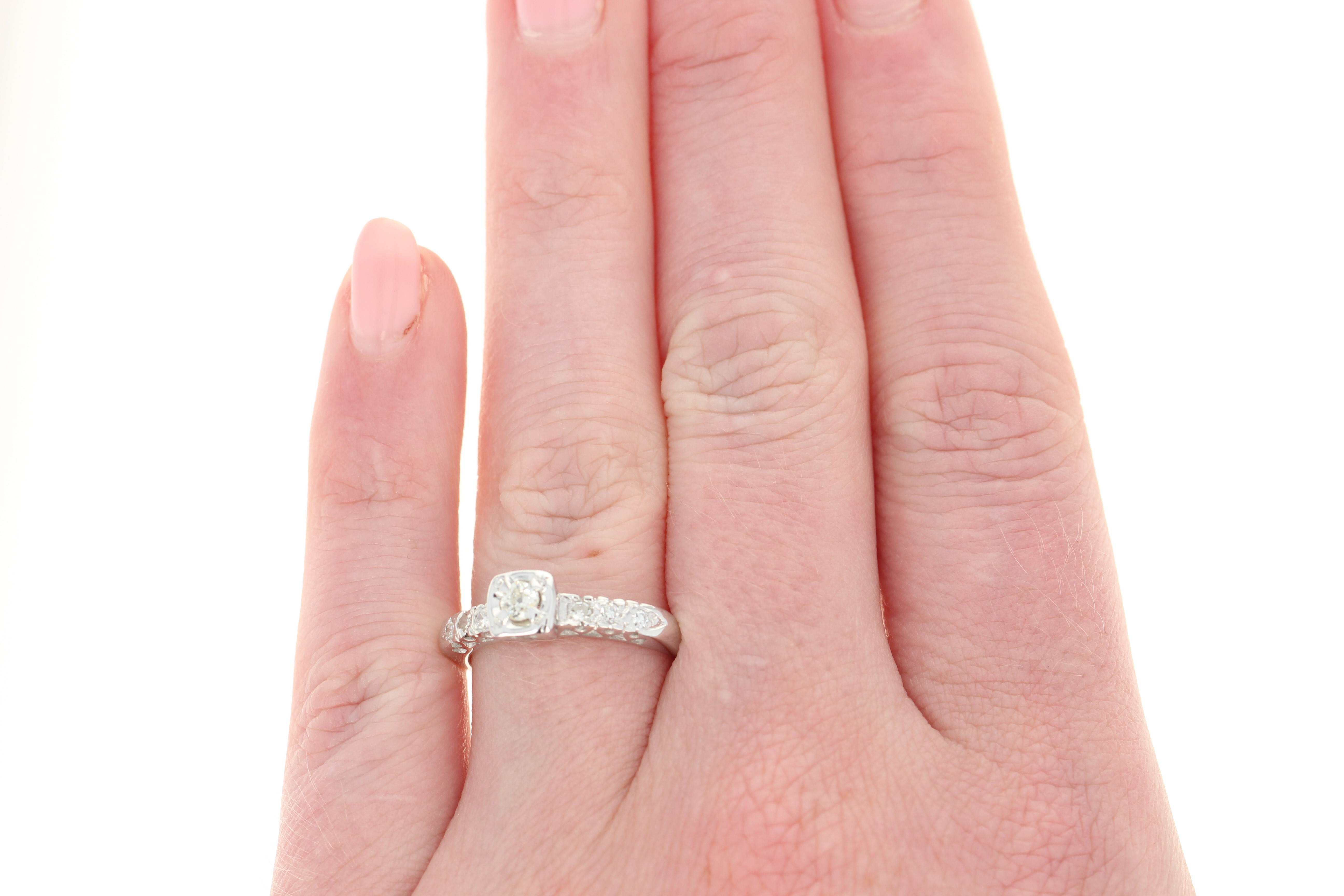Vintage Diamond Engagement Ring - 14k White Gold Old Mine Cut .23ctw ...