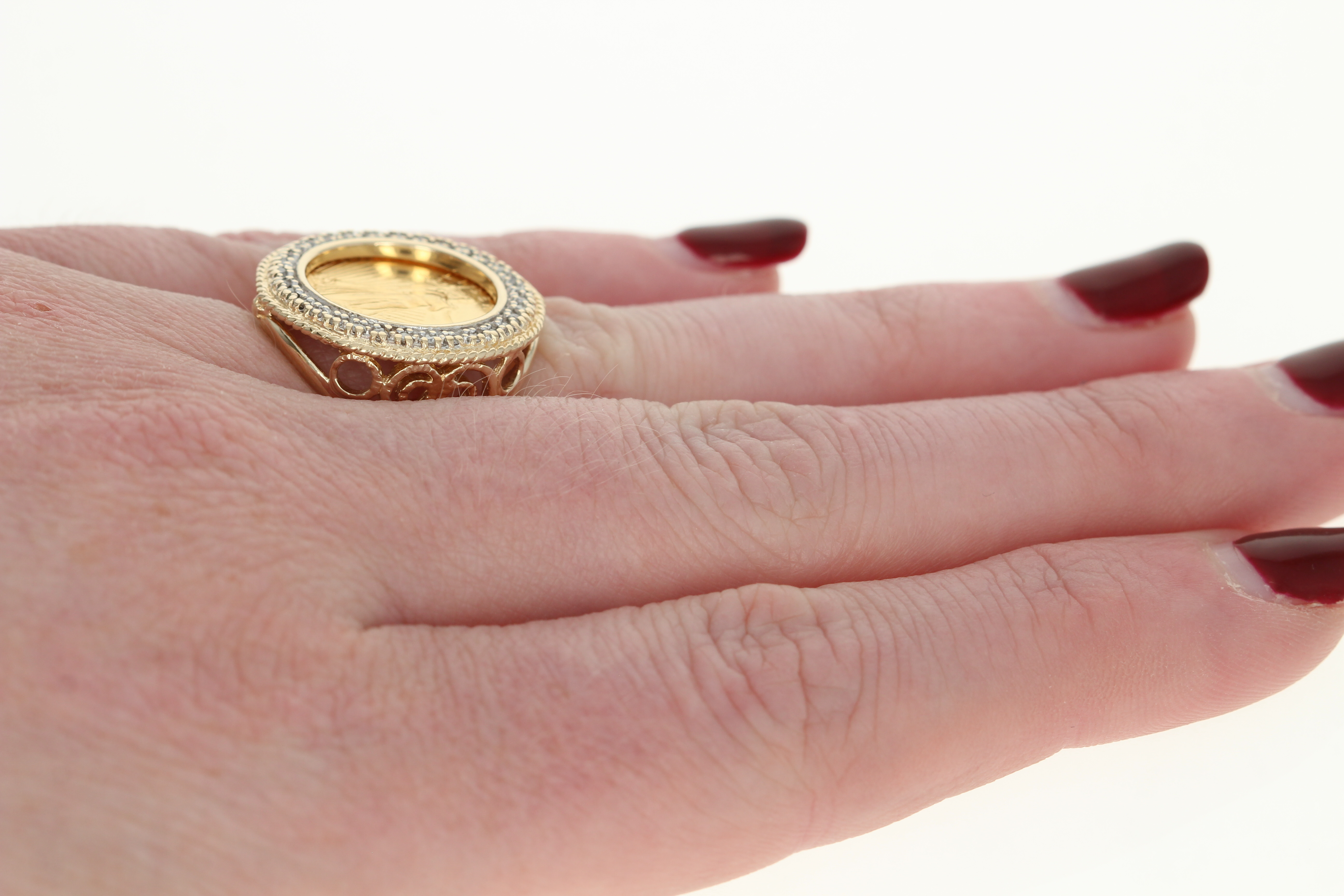 1994 American Eagle $5 Coin Ring - 10k Yellow Gold 1/10oz Halo ...
