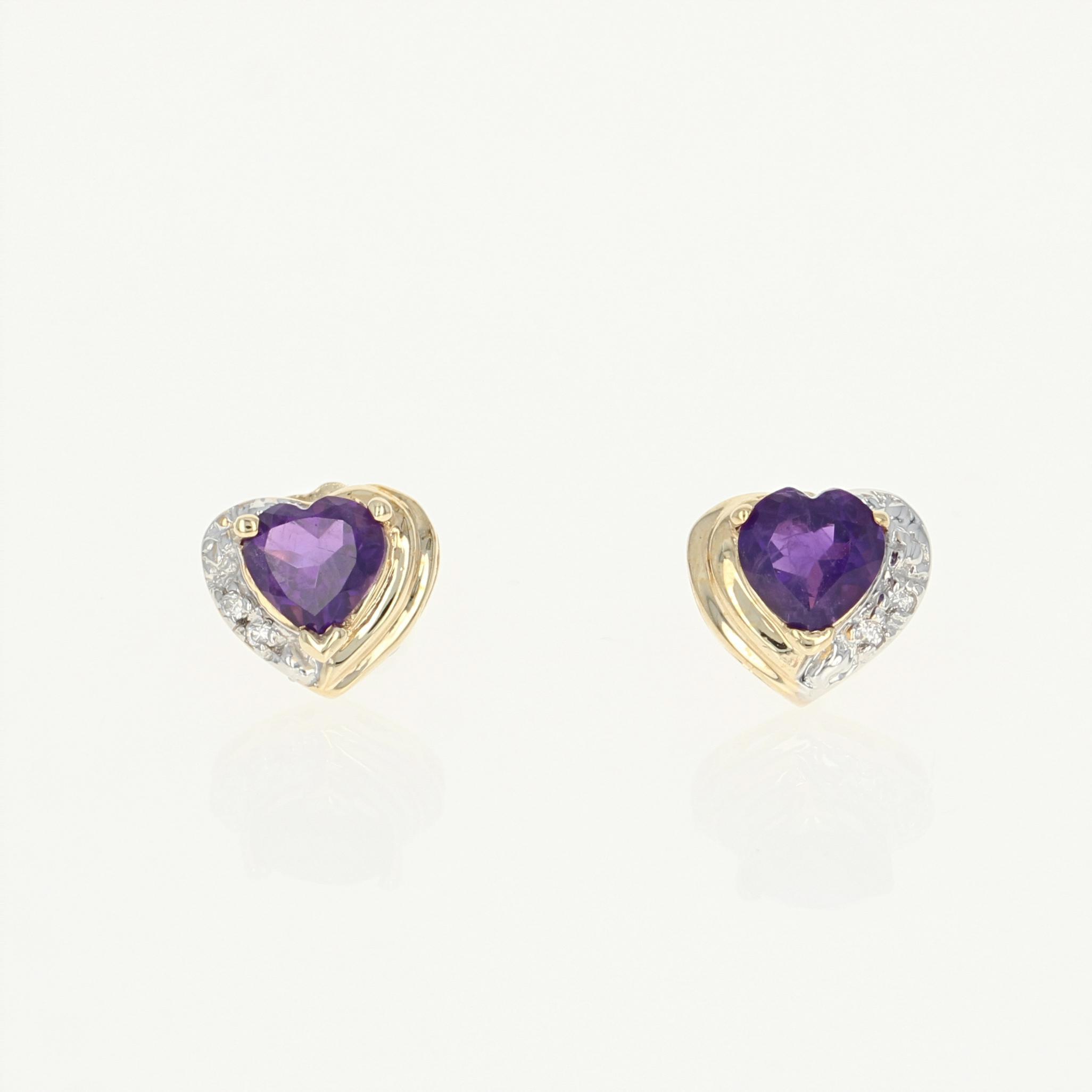 Amethyst Heart Earrings 10k Yellow Gold Cz Accents Pierced Studs 0 77ctw