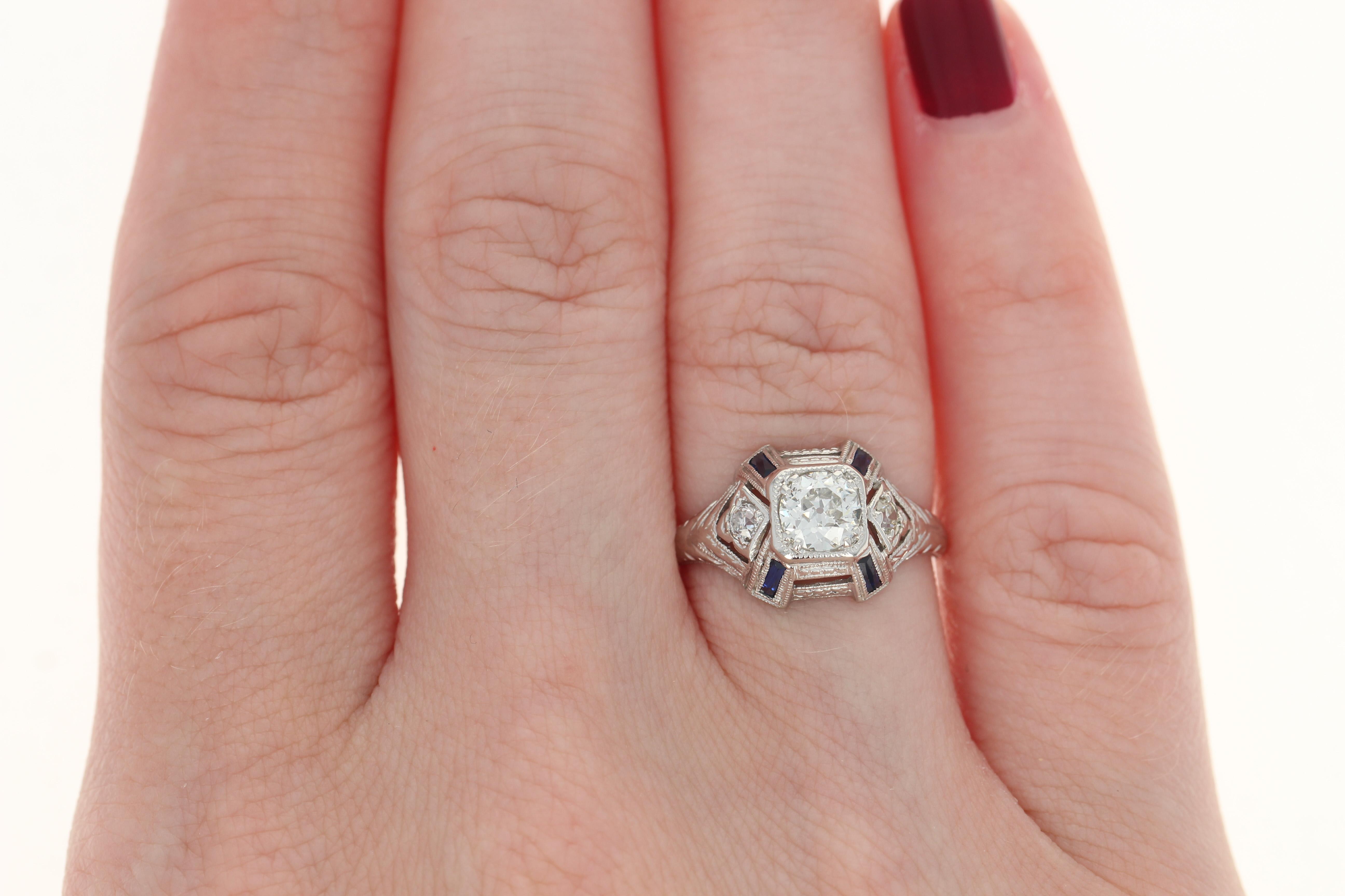Art Deco Diamond & Syn. Sapphire Ring - Platinum Etched Vintage ...