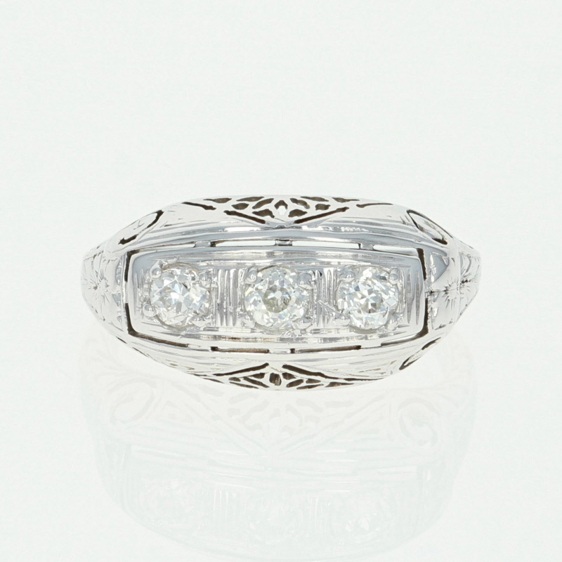 8597607a1e528 Art Deco Belais Three-Stone Diamond Ring -18k White Gold Vintage Mine Cut  .36ctw
