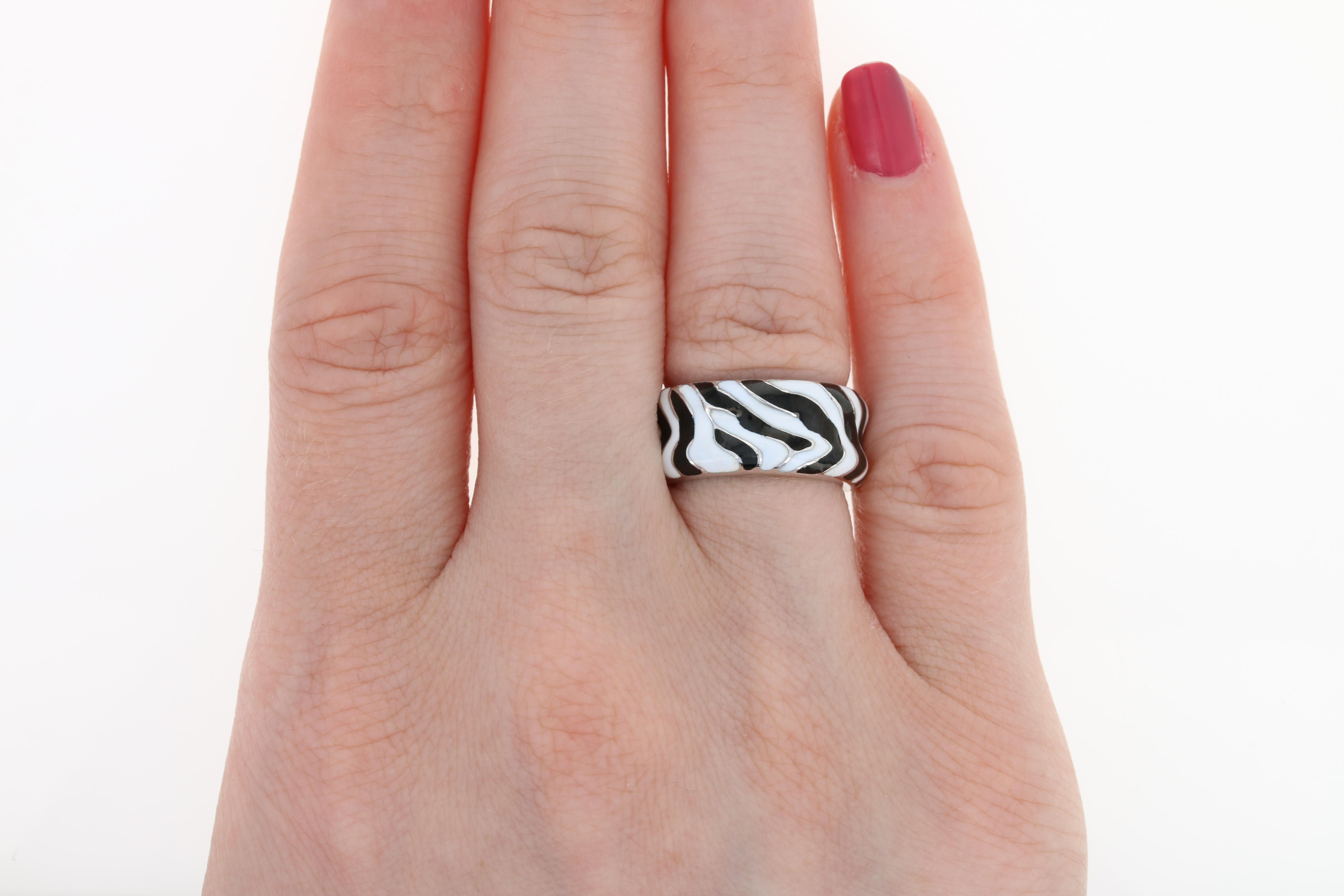 H Stern Contoured Zebra Band - 18k White Gold Black & White Enamel ...