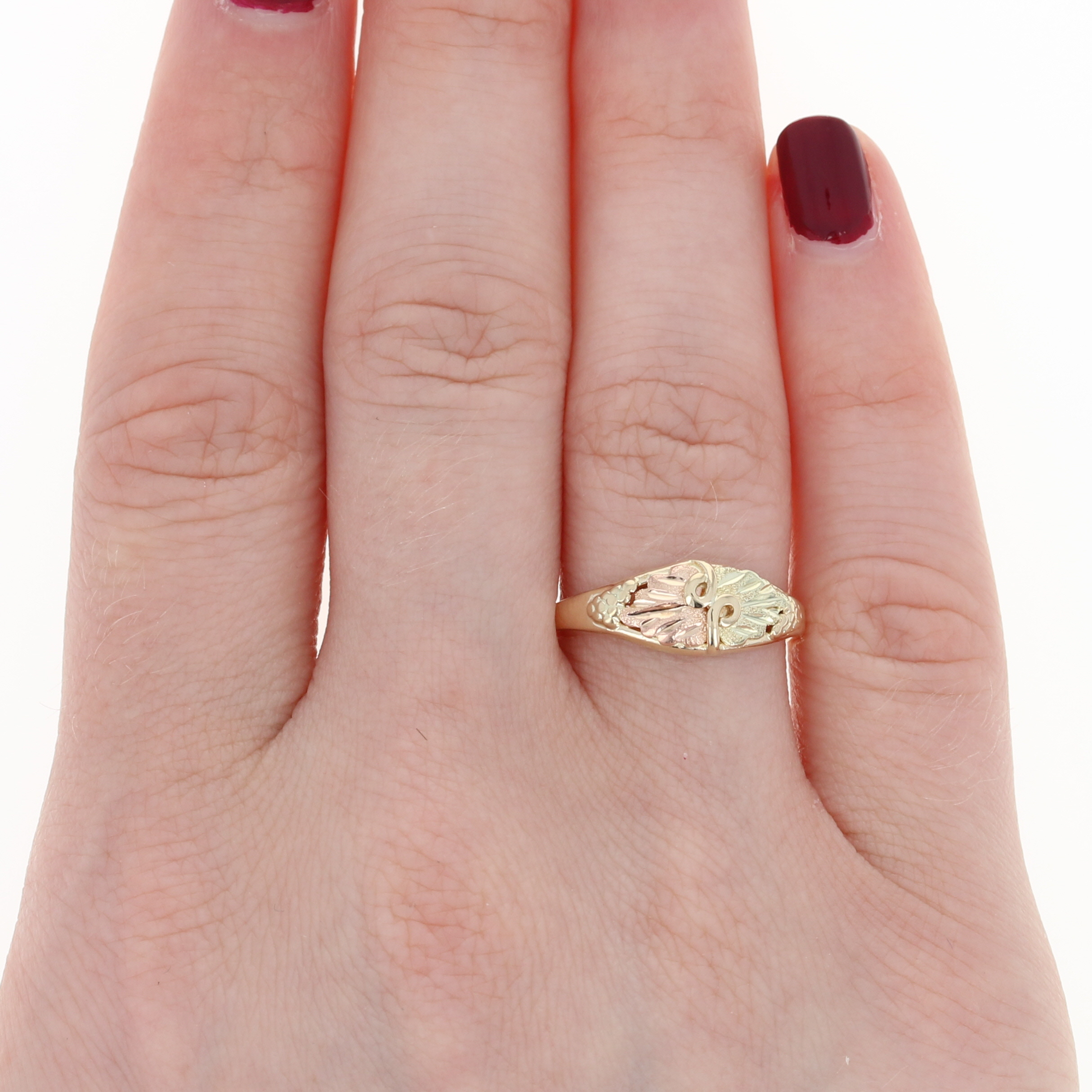 Textured Grapevine Leaf Ring - 10k Yellow, Rose, & Green Gold Size 7 ...