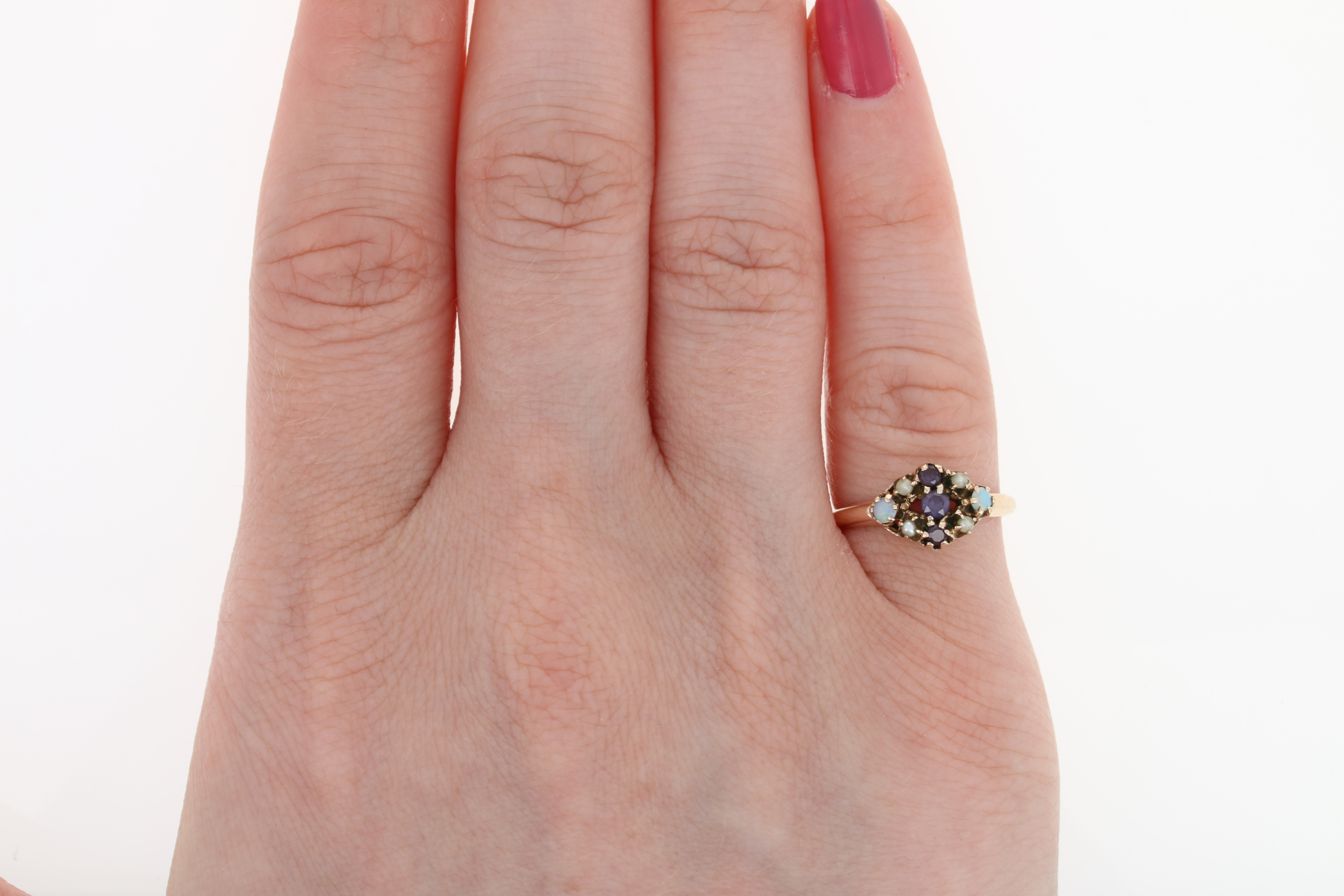 Victorian Synthetic Spinel, Opal, & Seed Pearl Ring - 10k Gold ...