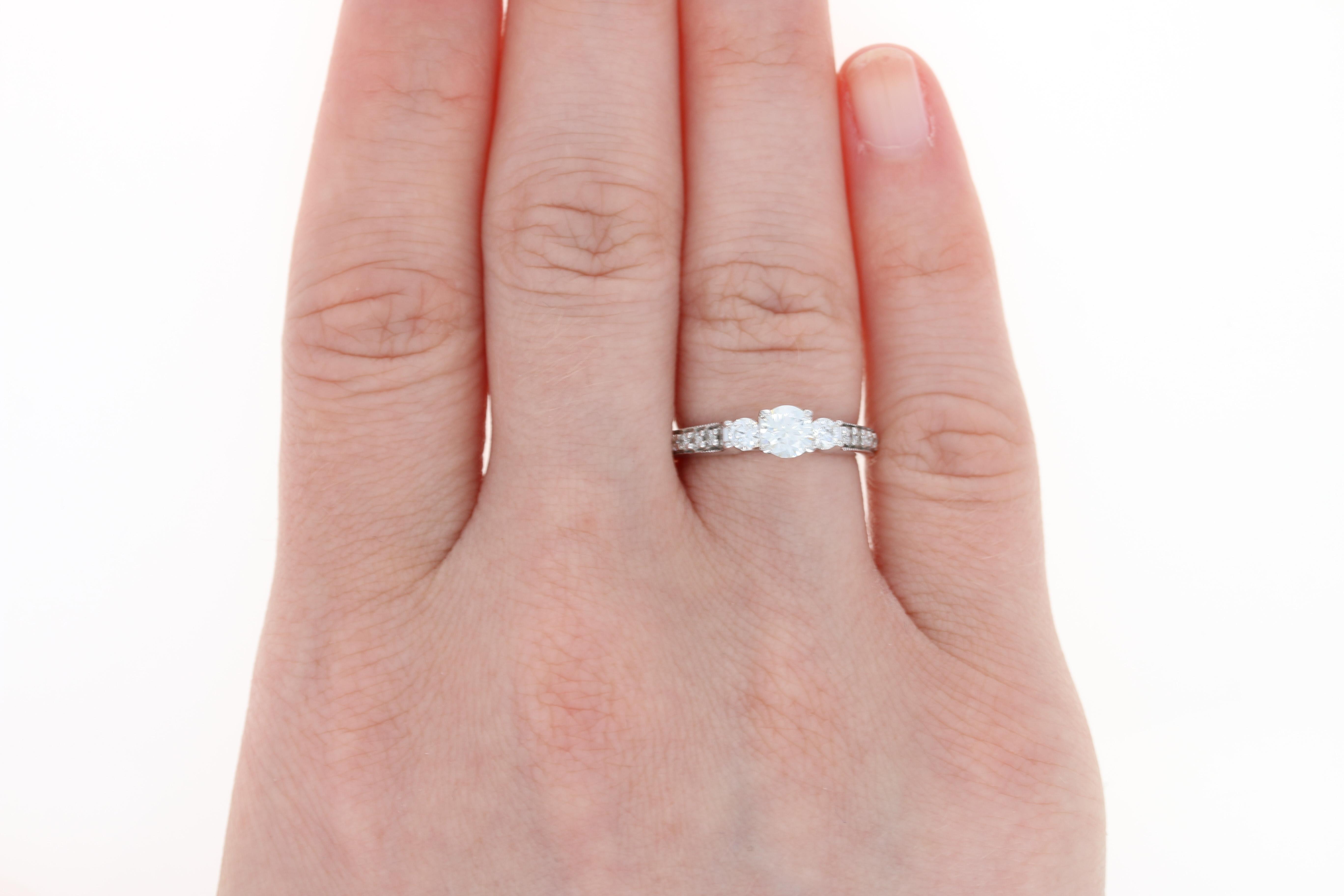 Diamond Engagement Ring & Wedding Band Set - 14k Gold Milgrain Round ...
