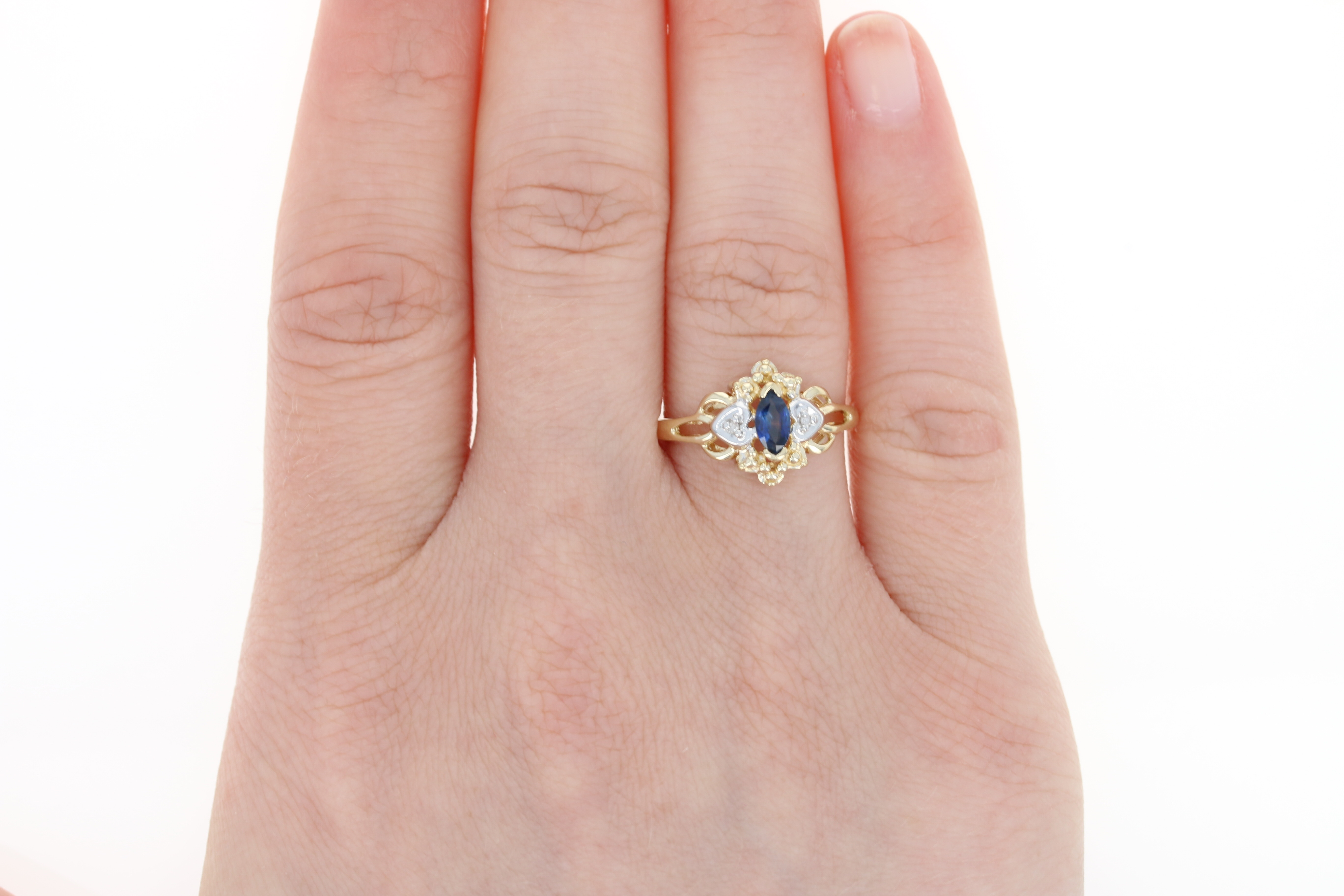 Sapphire Ring - 10k Yellow Gold Diamond Accents Marquise Brilliant ...