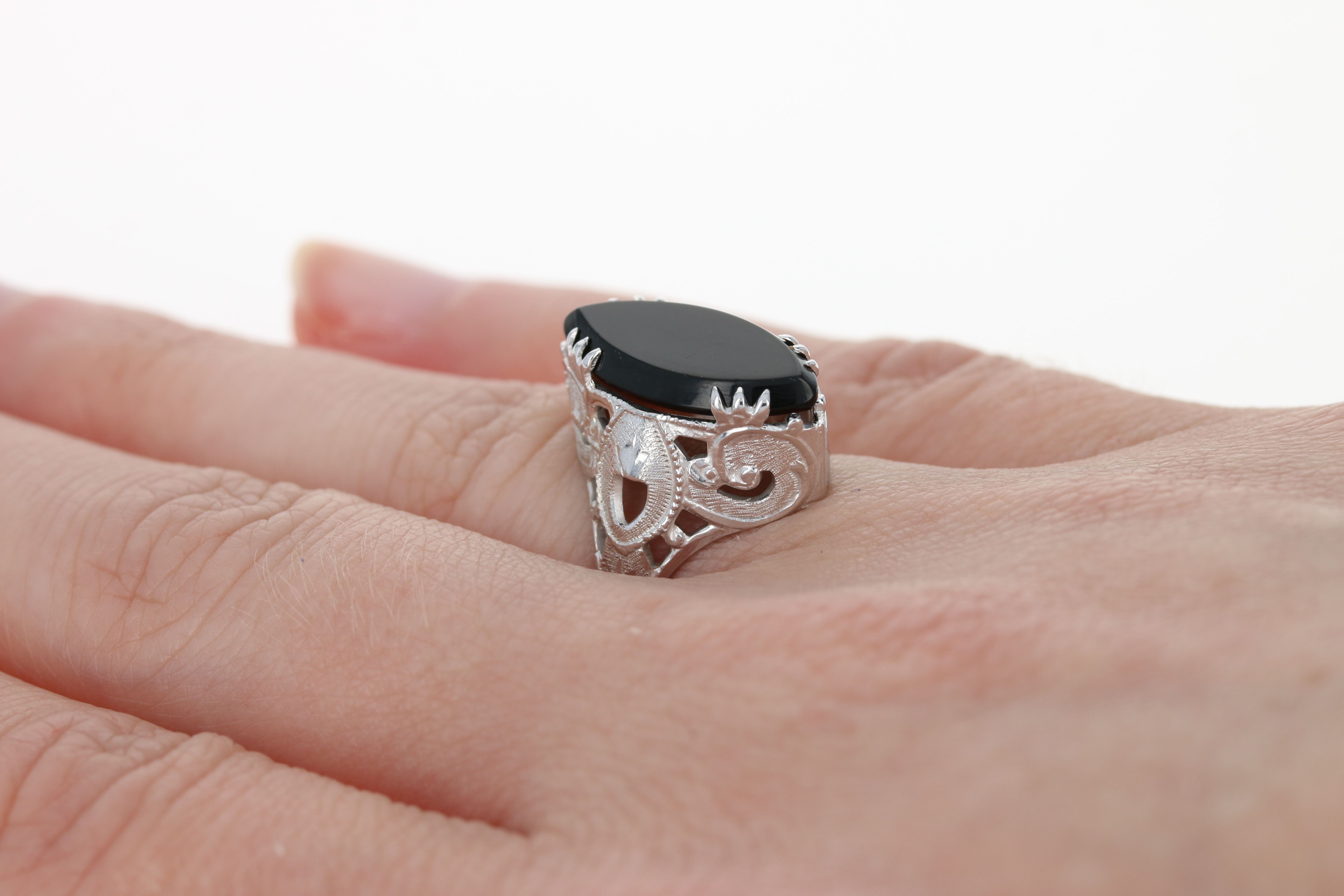 Art Deco Onyx Marquise Solitaire Ring - 14k White Gold Vintage Open ...