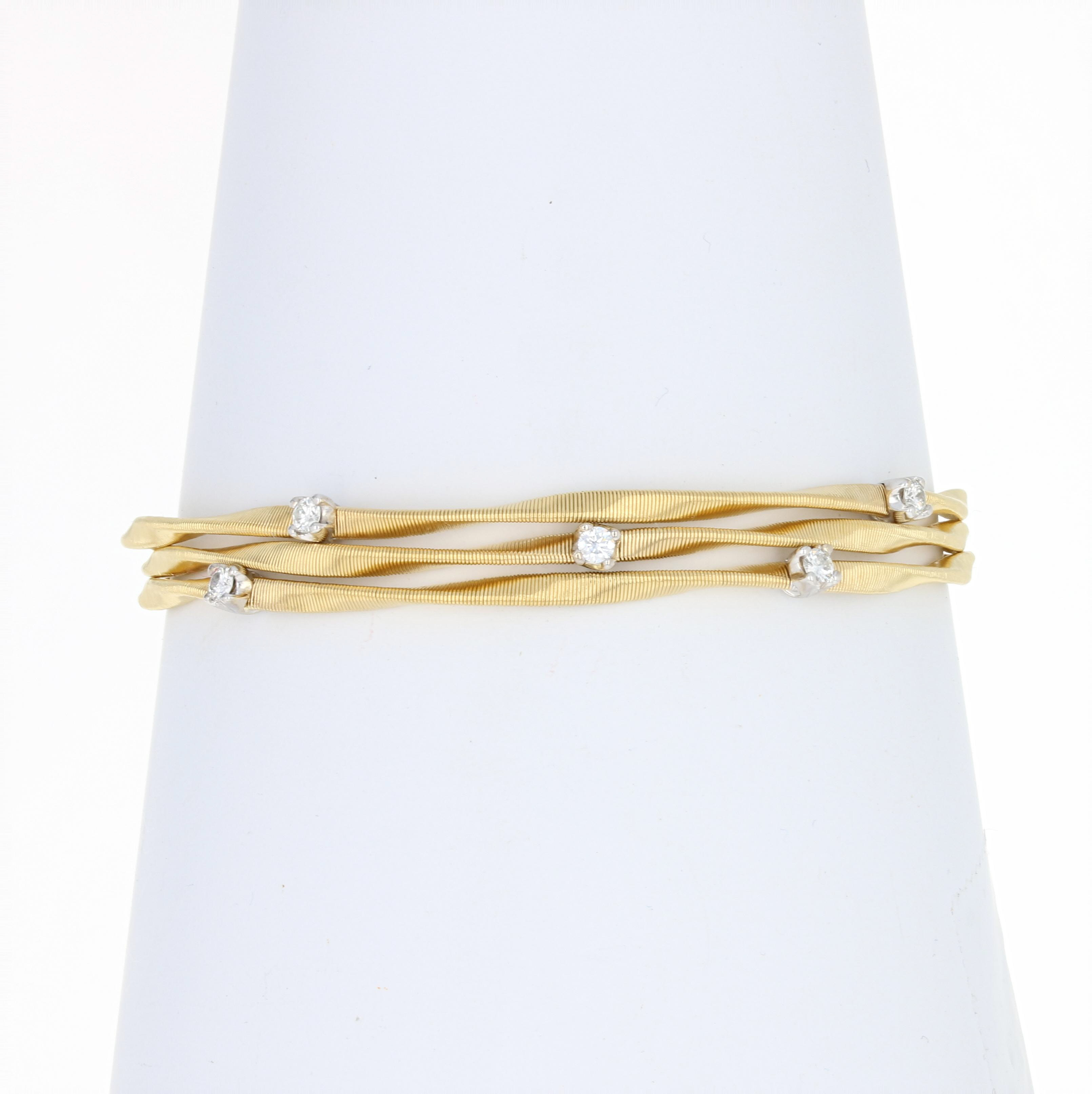 Marco Bicego Three-Strand Diamond Marrakech Bracelet 18k Gold Italy ...