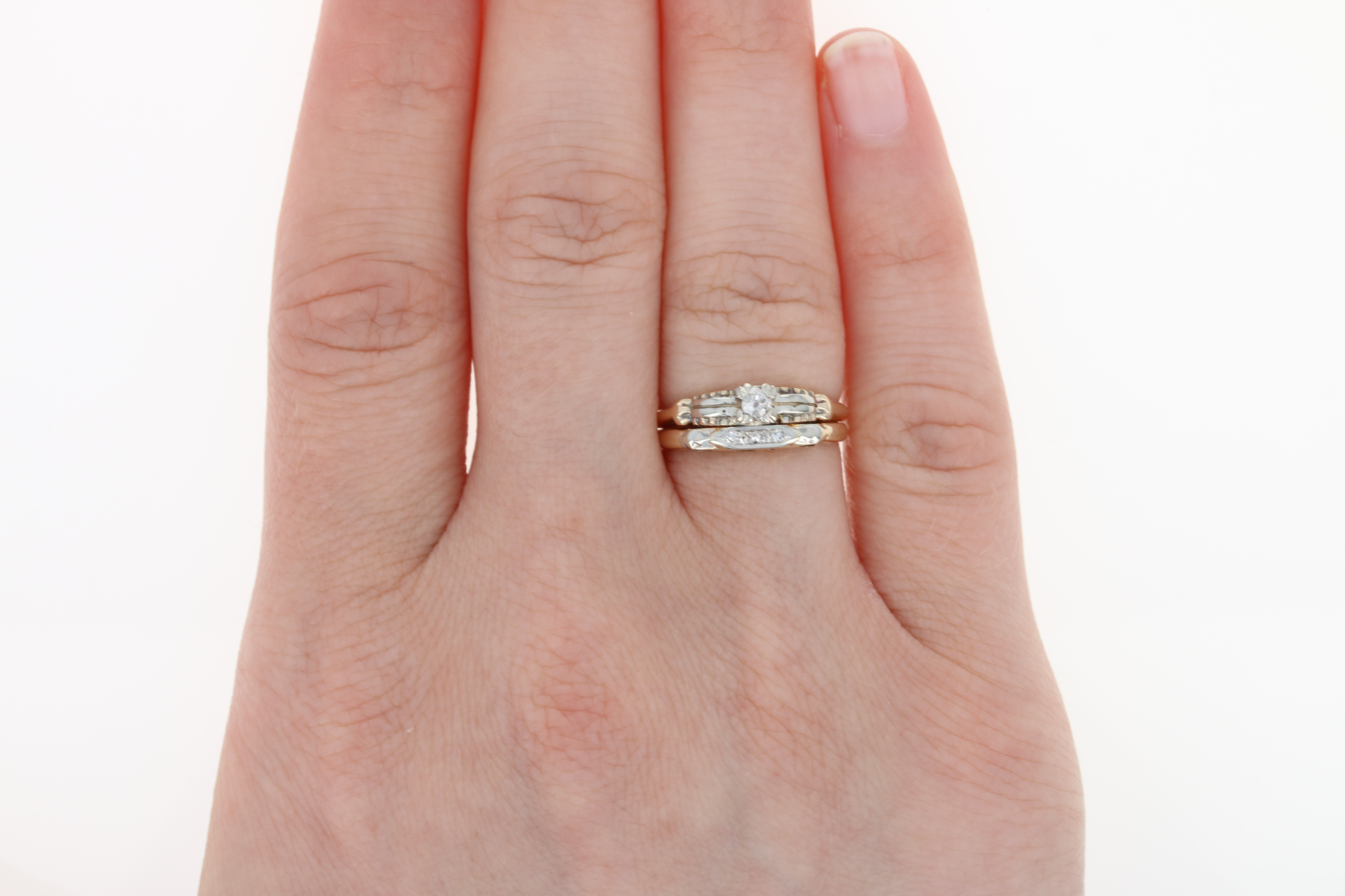 Joined Diamond Engagement Ring & Wedding Band - 14k Gold Vintage Old ...