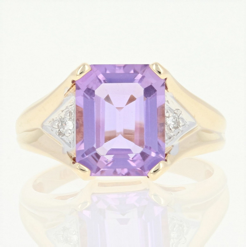 10k or 14k Yellow Gold Genuine Amethyst Peridot and Diamond Accented Ladies Ring