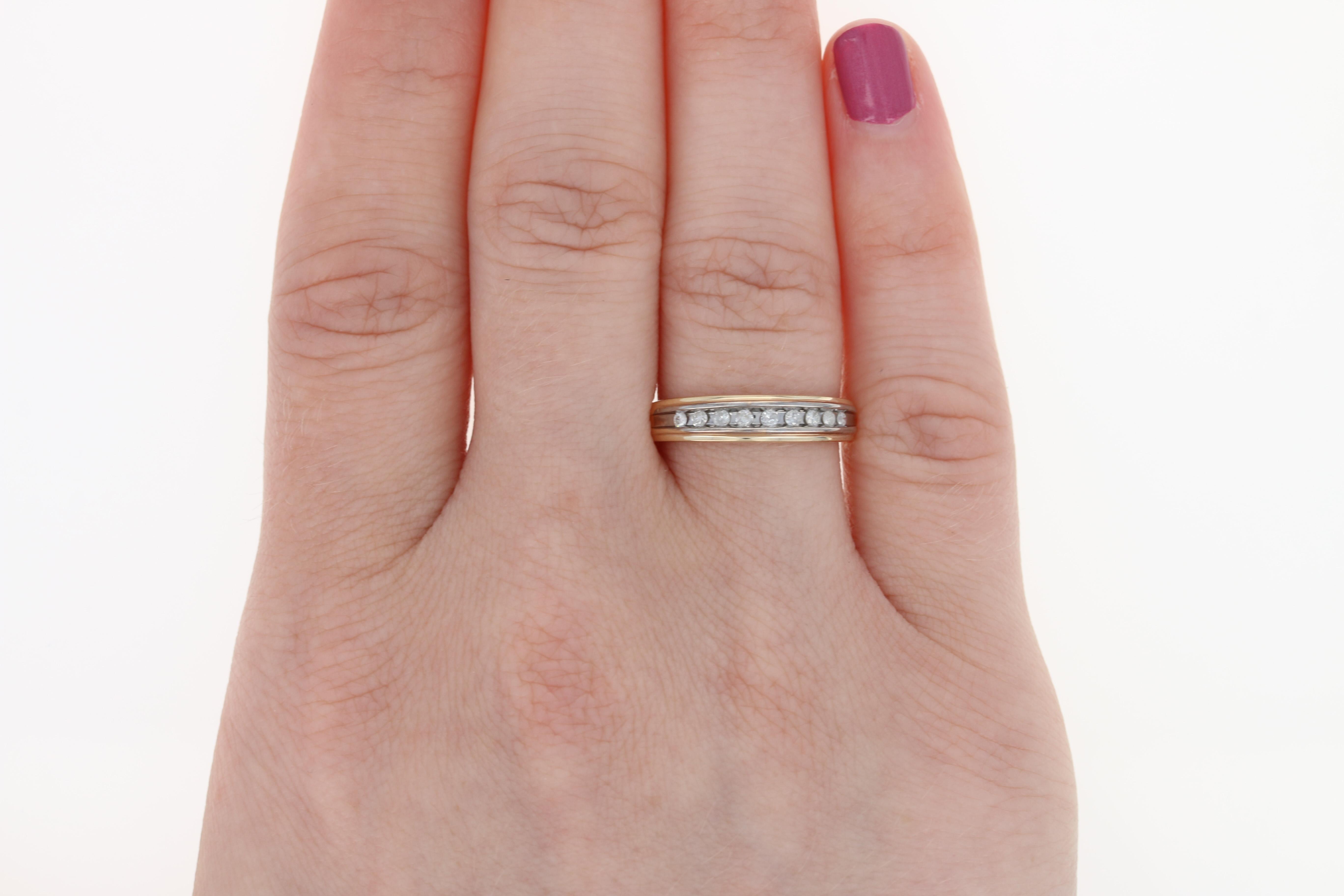 Diamond Two Tone Wedding Ring - 10k Yellow & White Gold Band Round ...