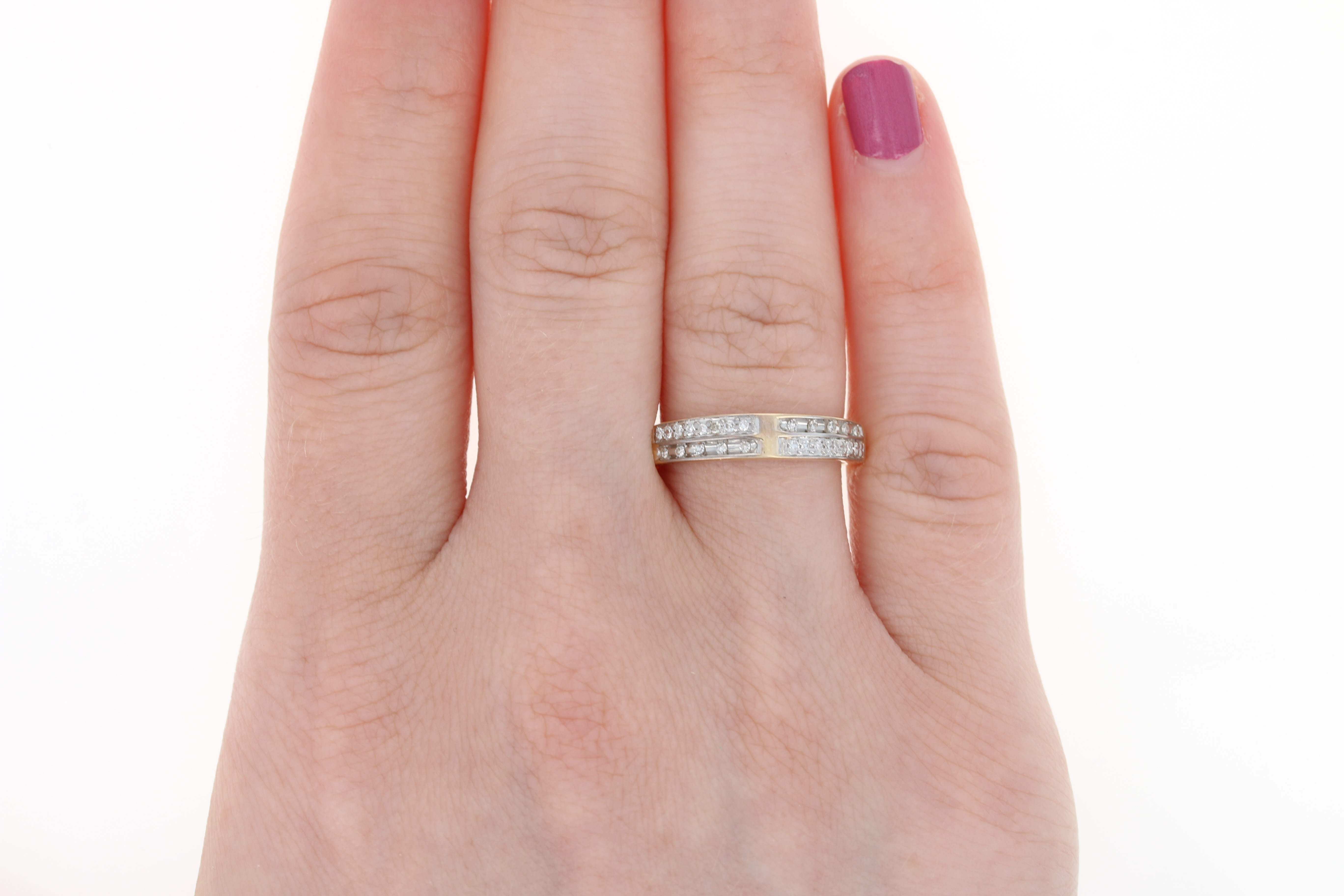 Diamond Wedding Band - 10k Yellow Gold Ring Size 7 Single Cut .10ctw ...