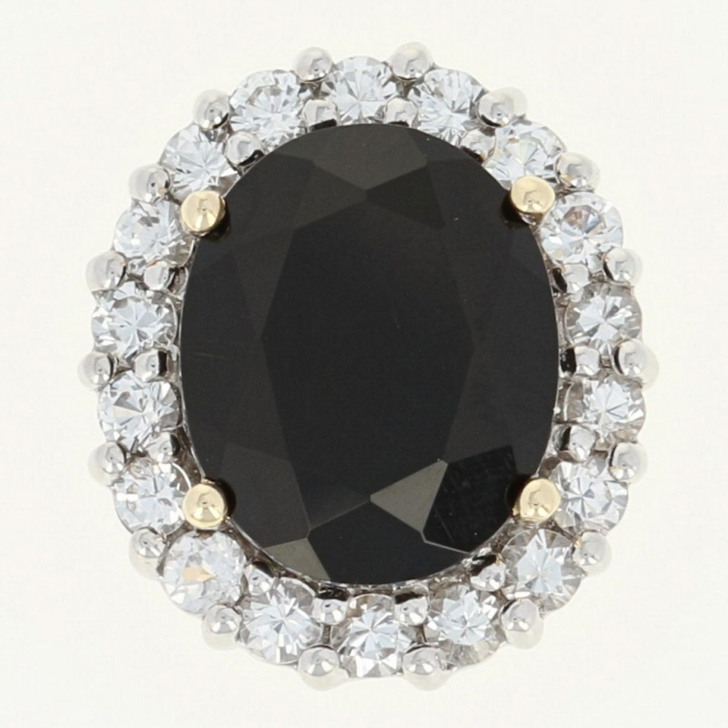 Details about Black Glass & Synthetic White Sapphire Pendant - 10k Gold  Oval Halo  85ctw