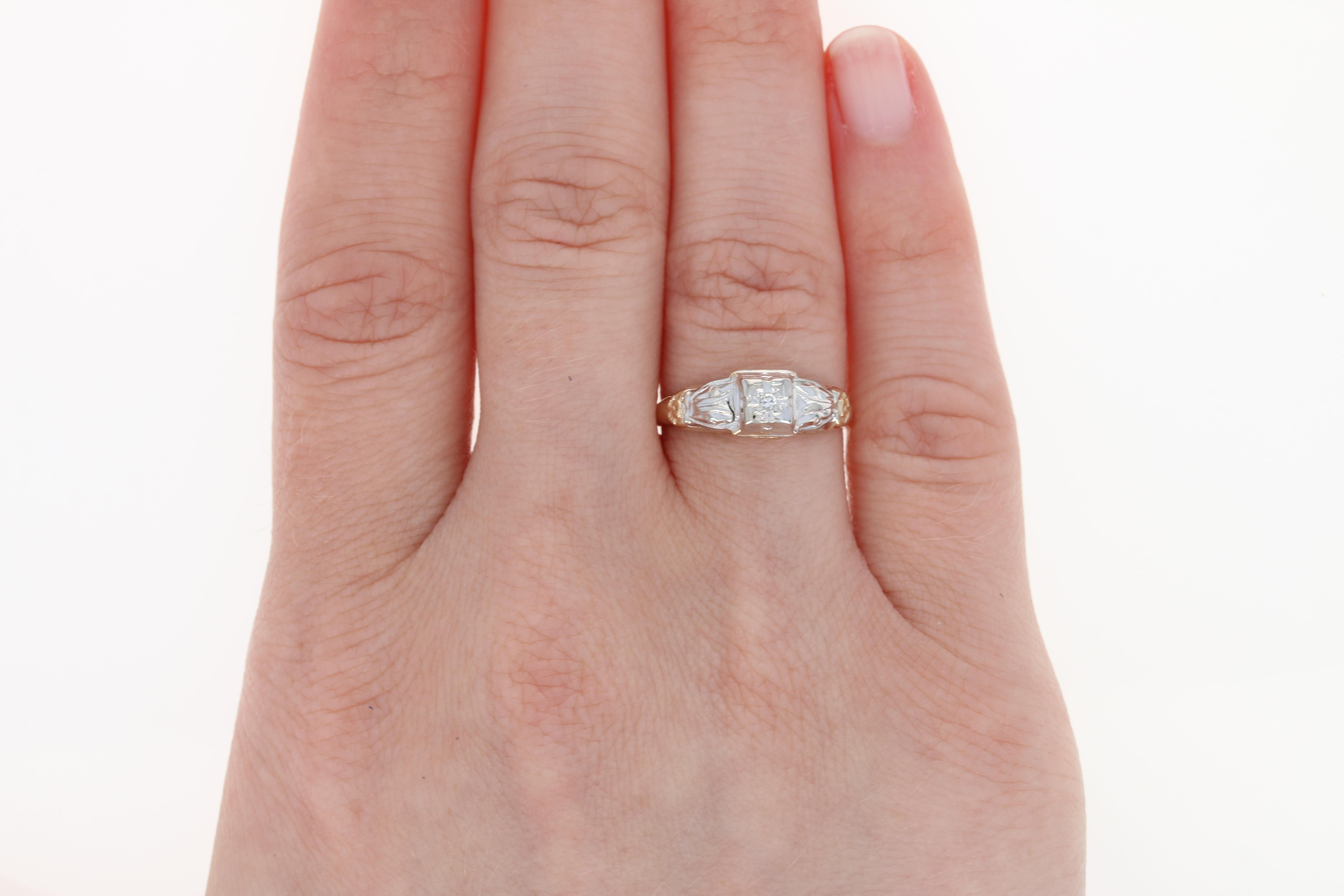 Art Deco Diamond Engagement Ring & Wedding Band - 14k Yellow Gold ...