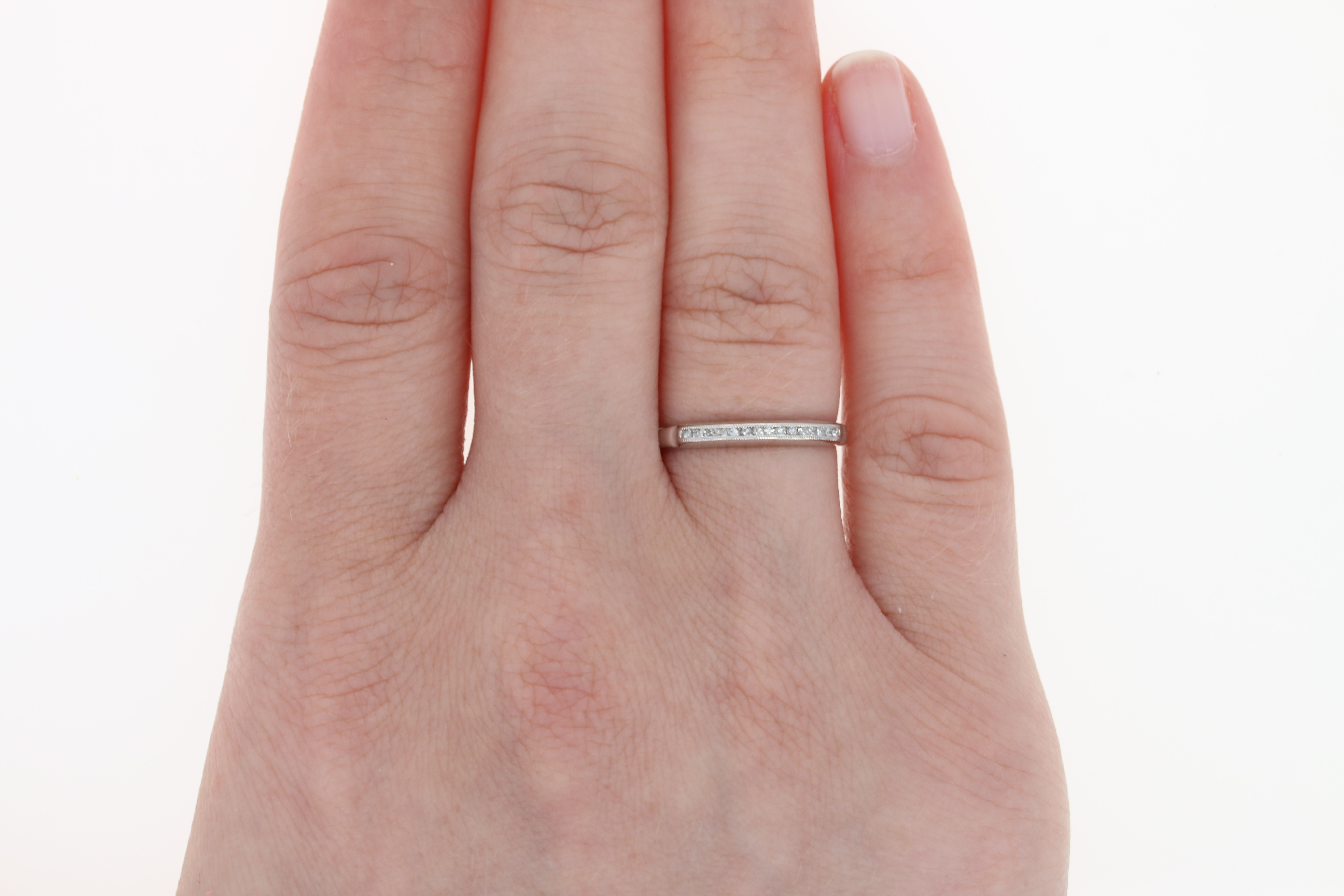 Vintage Diamond Wedding Ring - 14k White Gold Anniversary Band ...