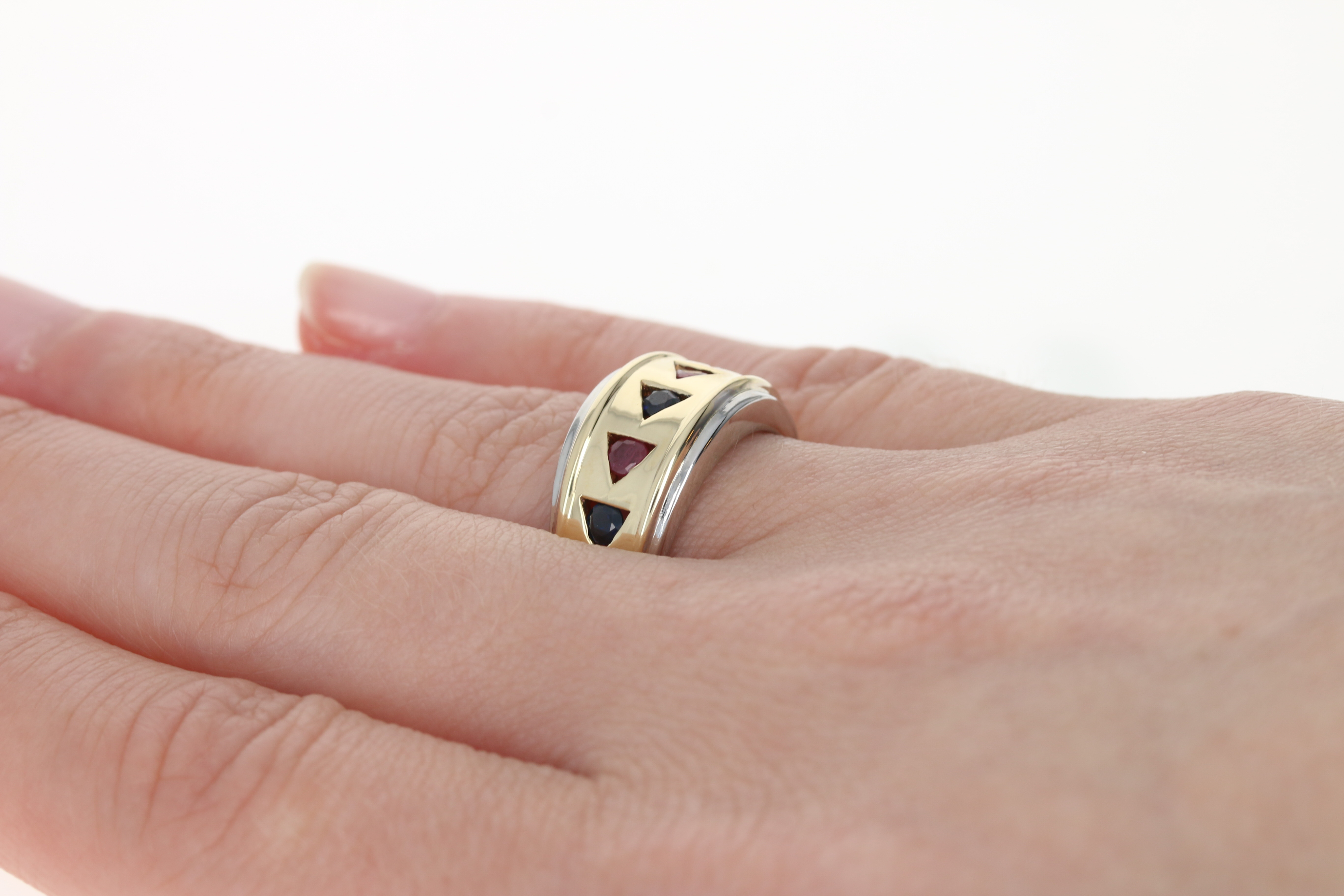 Ruby & Sapphire Band - 14k Yellow & White Gold Ring Round Brilliant ...