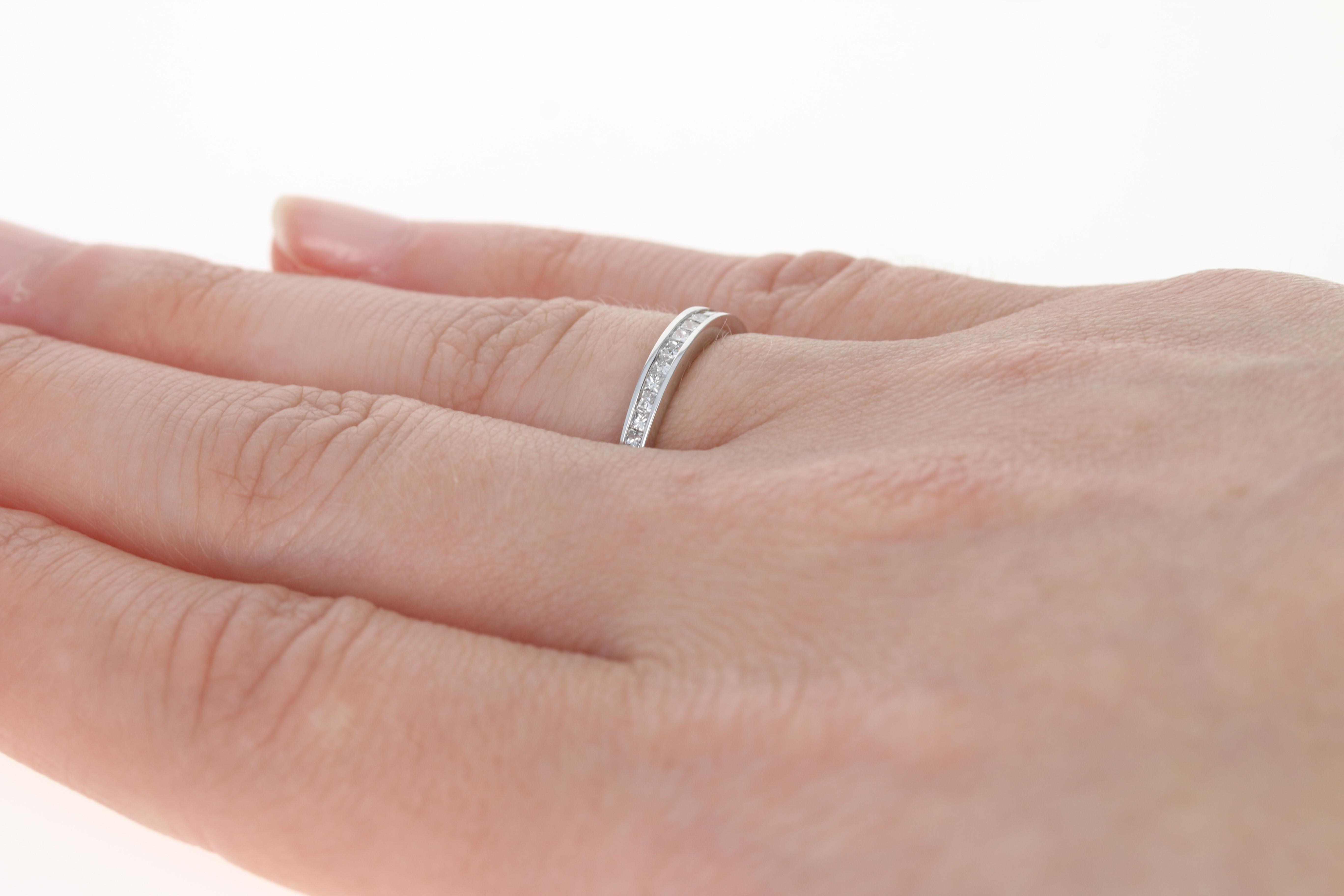 Diamond Wedding Band - 14k White Gold Women\'s Ring Princess ...