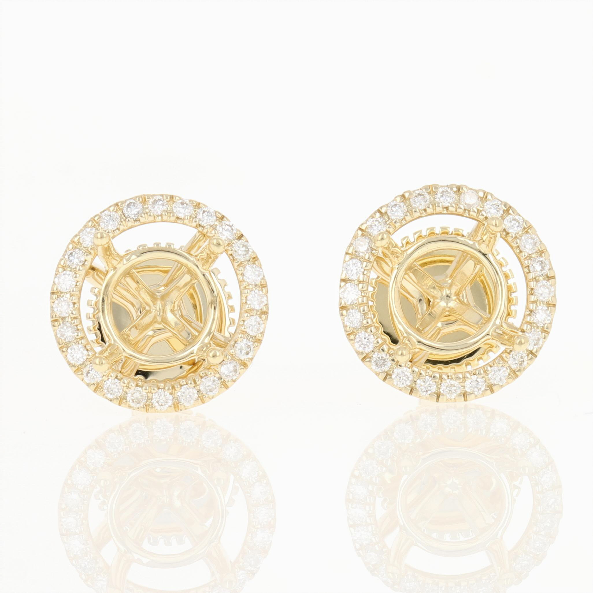 2327449352b86 Details about NEW Semi-Mount Stud Earrings 14k Gold w/ Removable Diamond  Halo Enhancers .16ctw