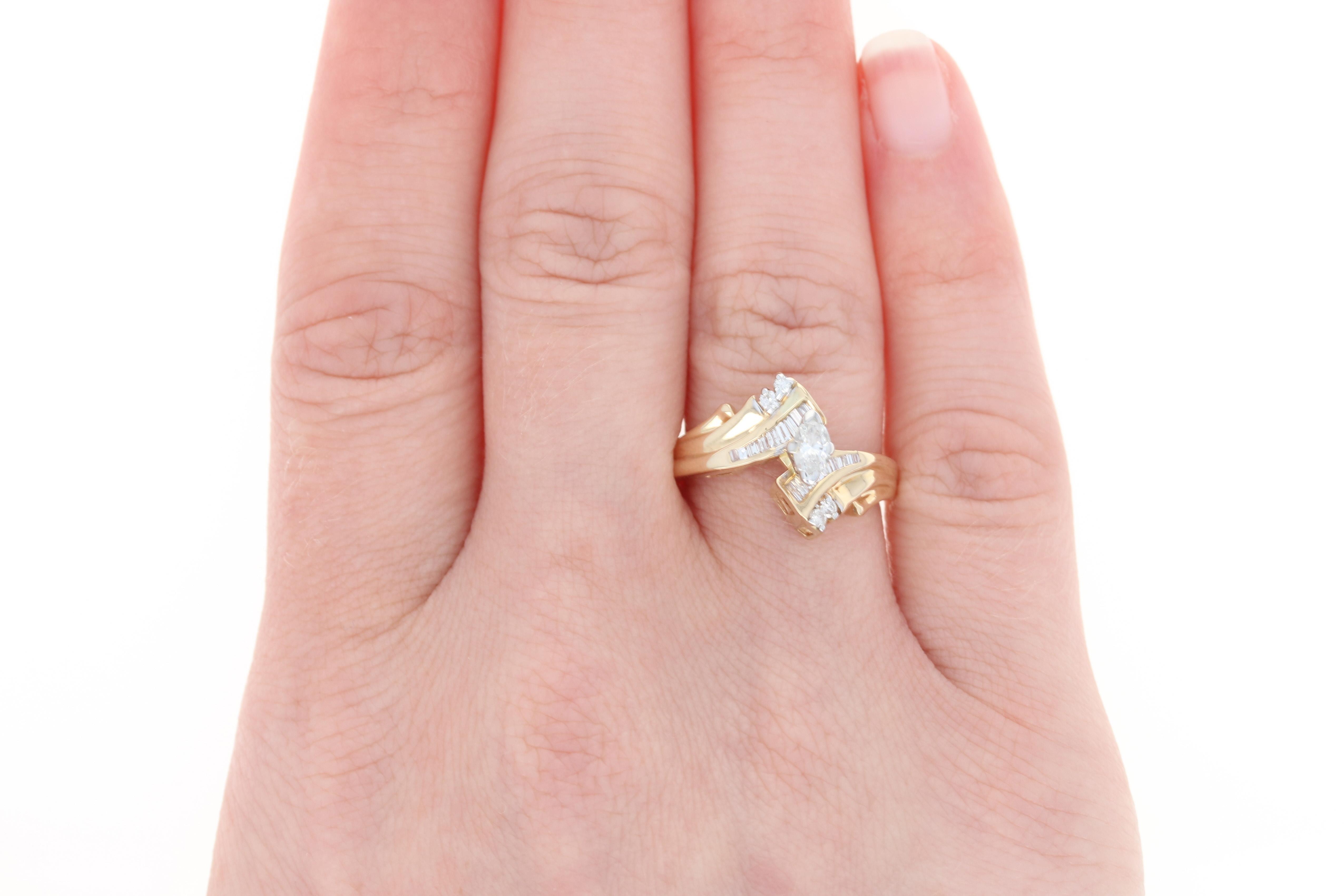 Diamond Engagement Ring & Wedding Band - 14k Yellow Gold Bypass ...