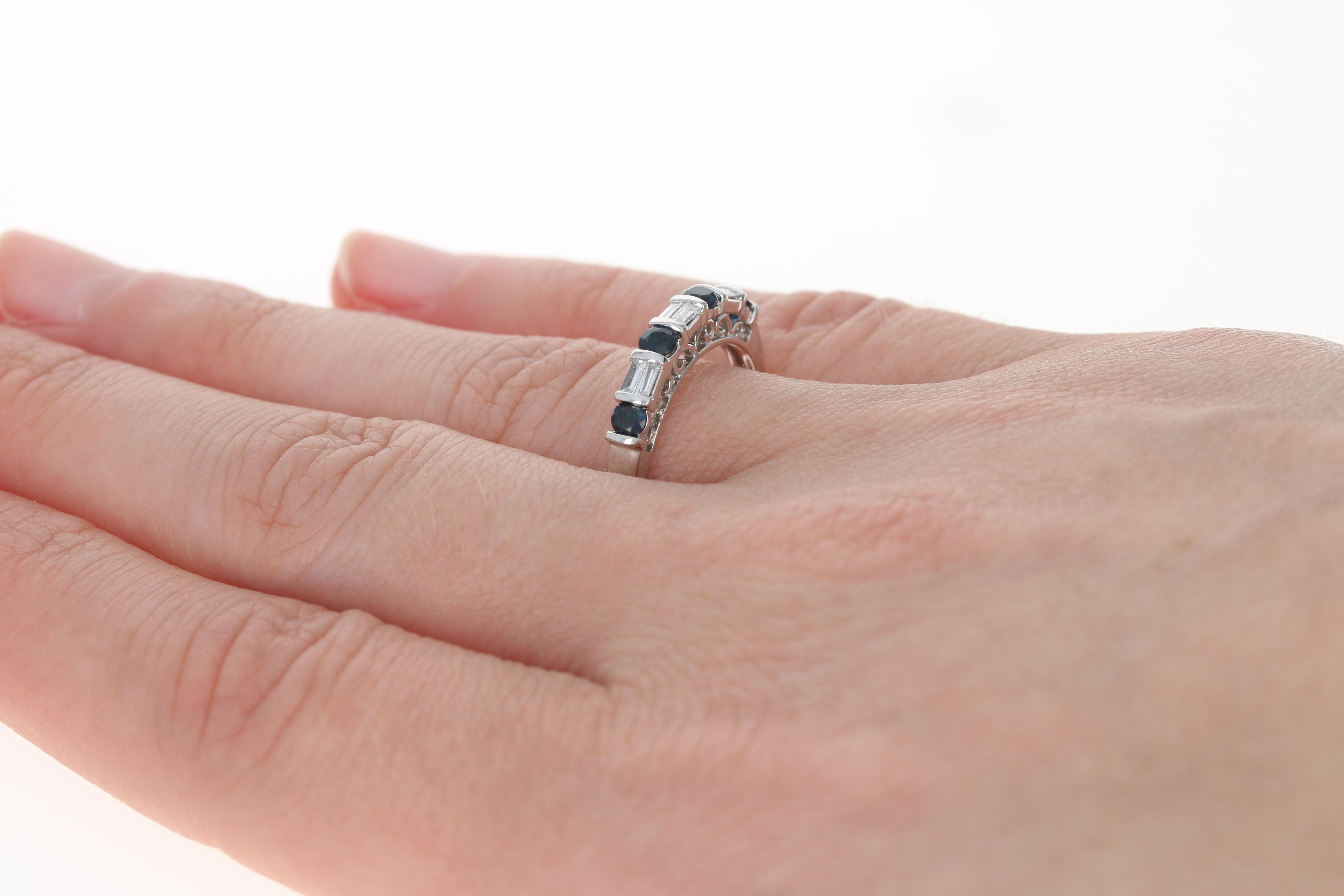 Sapphire & Diamond Wedding Band - 10k White Gold Round Brilliant ...