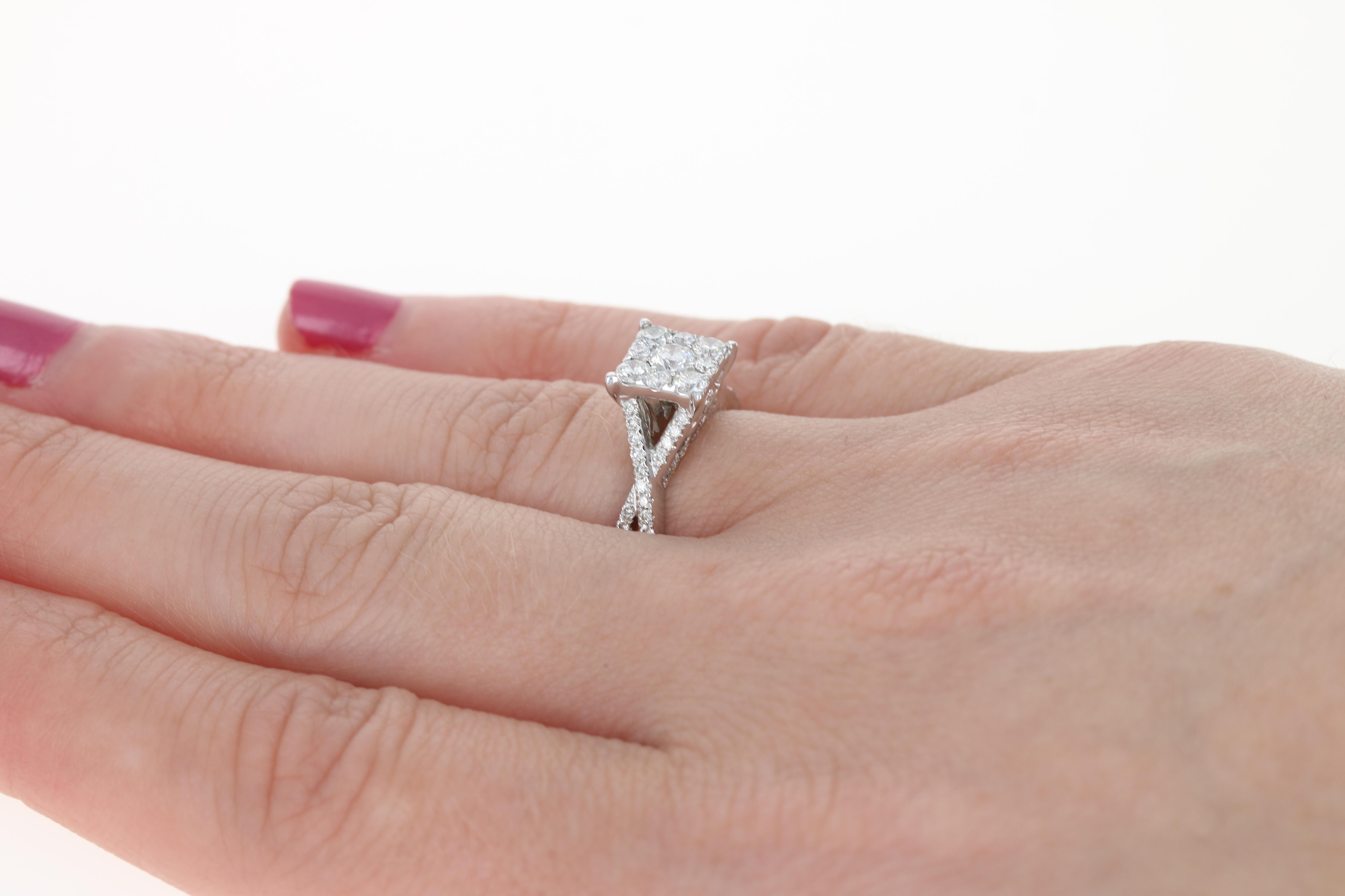 Diamond Engagement Ring - 14k White Gold Halo Illusion Round Cut ...