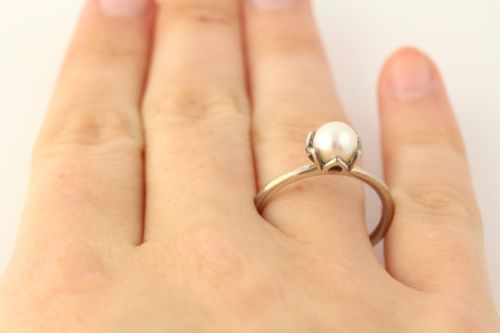 5d7019b30 NEW Pandora Cultured Pearl Elegance Ring - 925 Sterling Silver ...