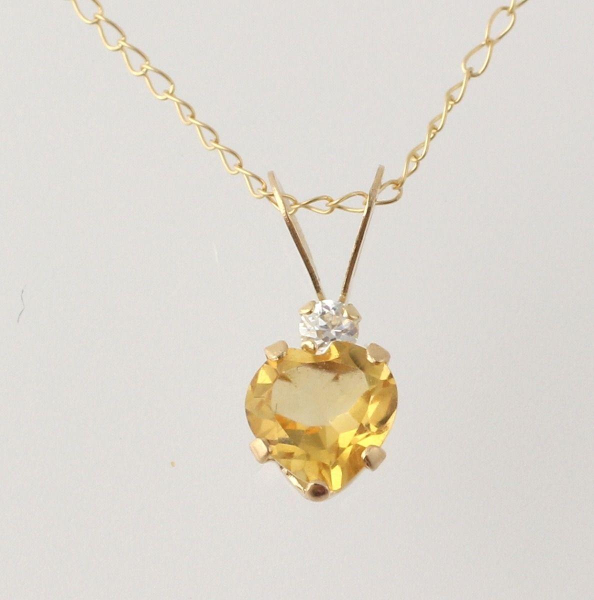 Aquamarine /& Cubic Zirconia Heart Pendant 10k Yellow Gold Womens .48ctw Fine