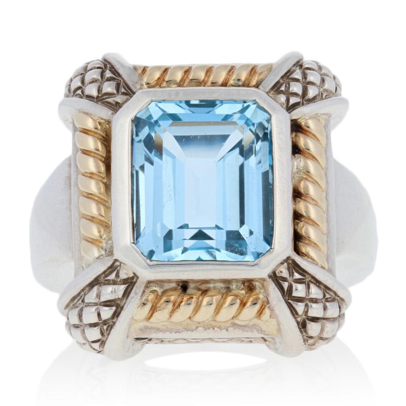 Sterling Silver /& 18k Gold NEW Krementz 8.00ct Blue Topaz Ring