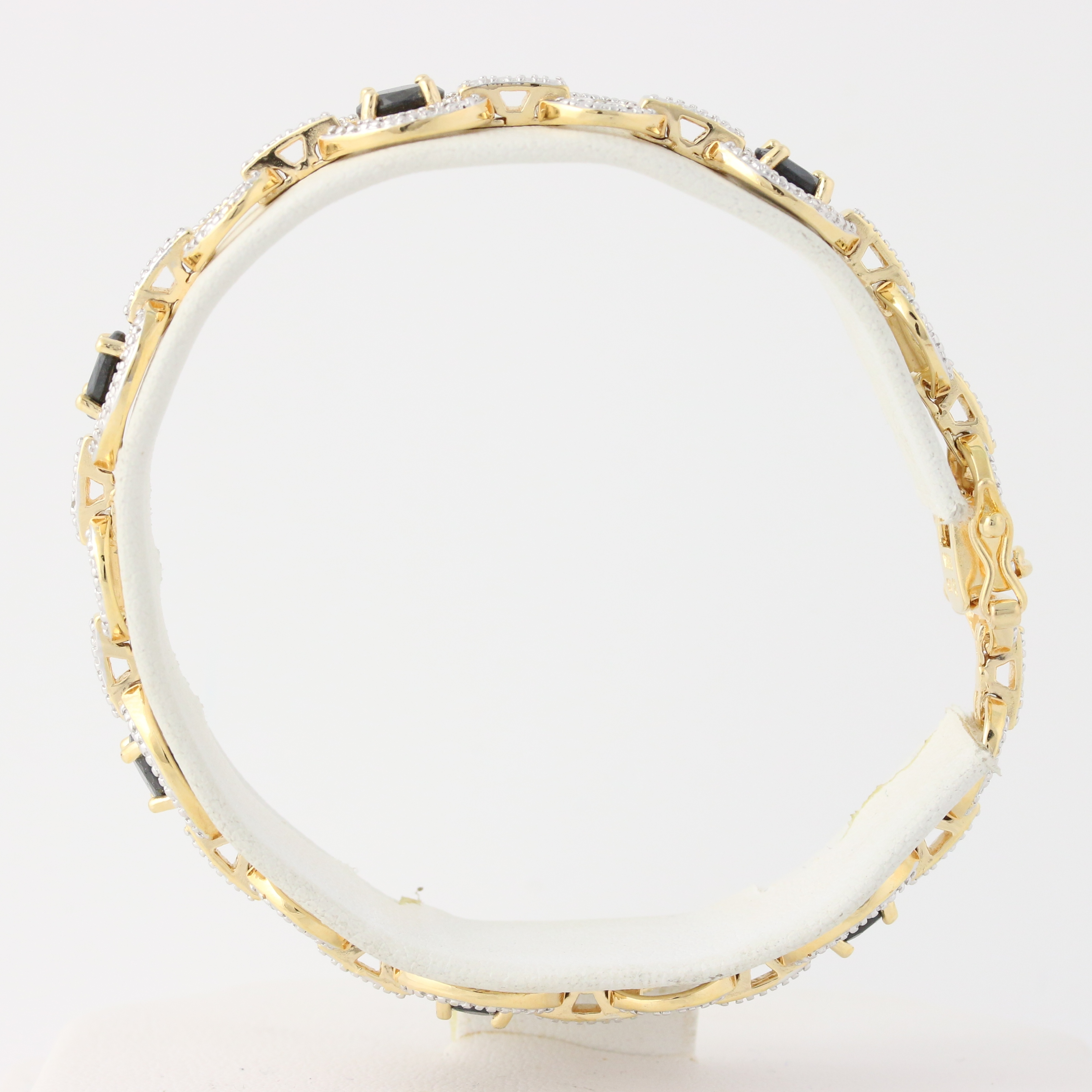 "Oval Shape Genuine Emerald Diamond Accent Gold Vermeil Tennis Bracelet 7/"""