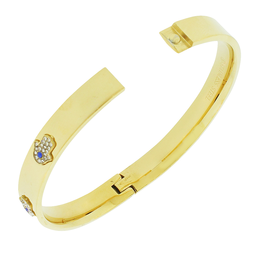 My Daily Styles Stainless Steel Yellow Gold-Tone White CZ Bangle Bracelet