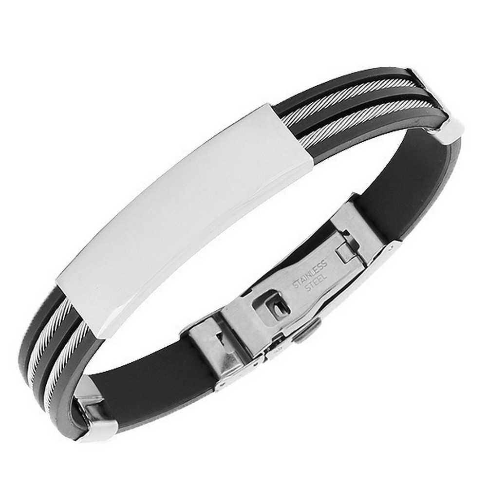 My Daily Styles Stainless Steel Silver-Tone Twisted Cable Name Tag Mens Bracelet
