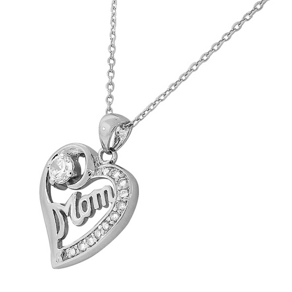 Sterling-Silver-White-Gold-Love-Heart-Mom-Mother-Crystals-CZ-Pendant-Necklace miniature 3