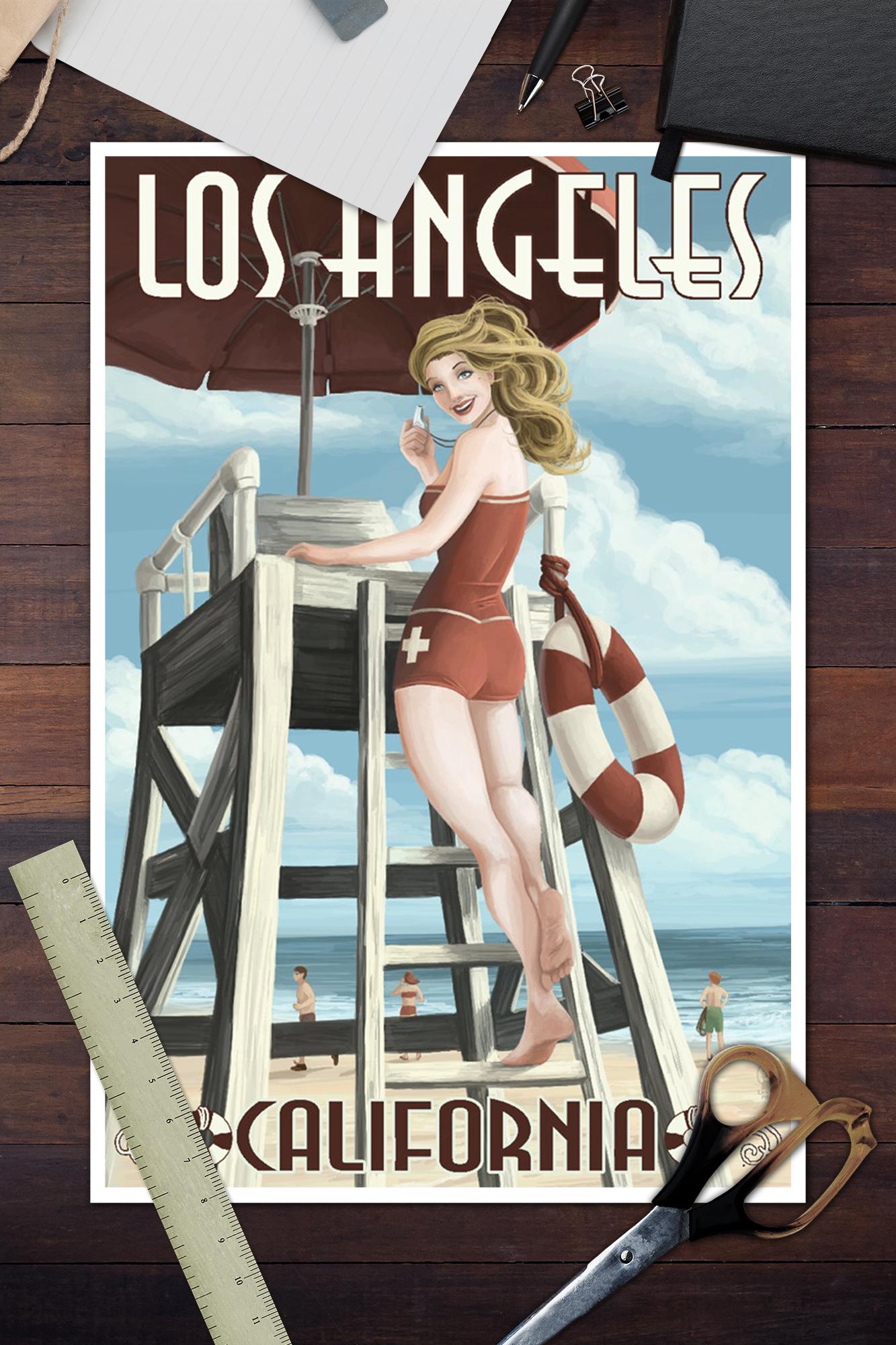 Posters, Wood /& Metal Signs Los Angeles Beach CA Lifeguard Pinup LP Artwork
