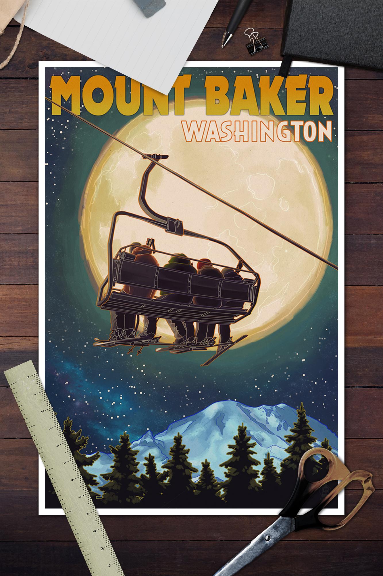 Mt Baker Posters, Wood /& Metal Signs LP Artwork WA Crossed Skis Letterpress