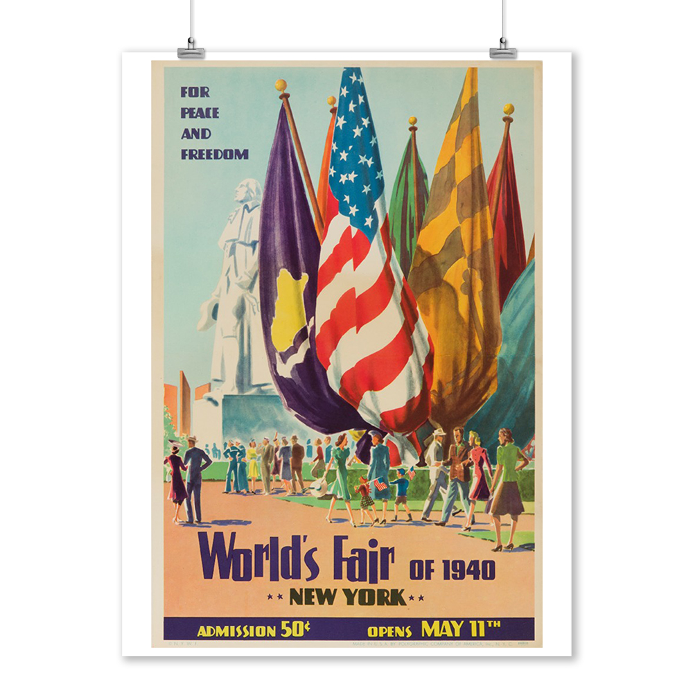 World/'s Fair 1940 New York Peace and Freedom Travel Vintage Poster Repro FREE SH