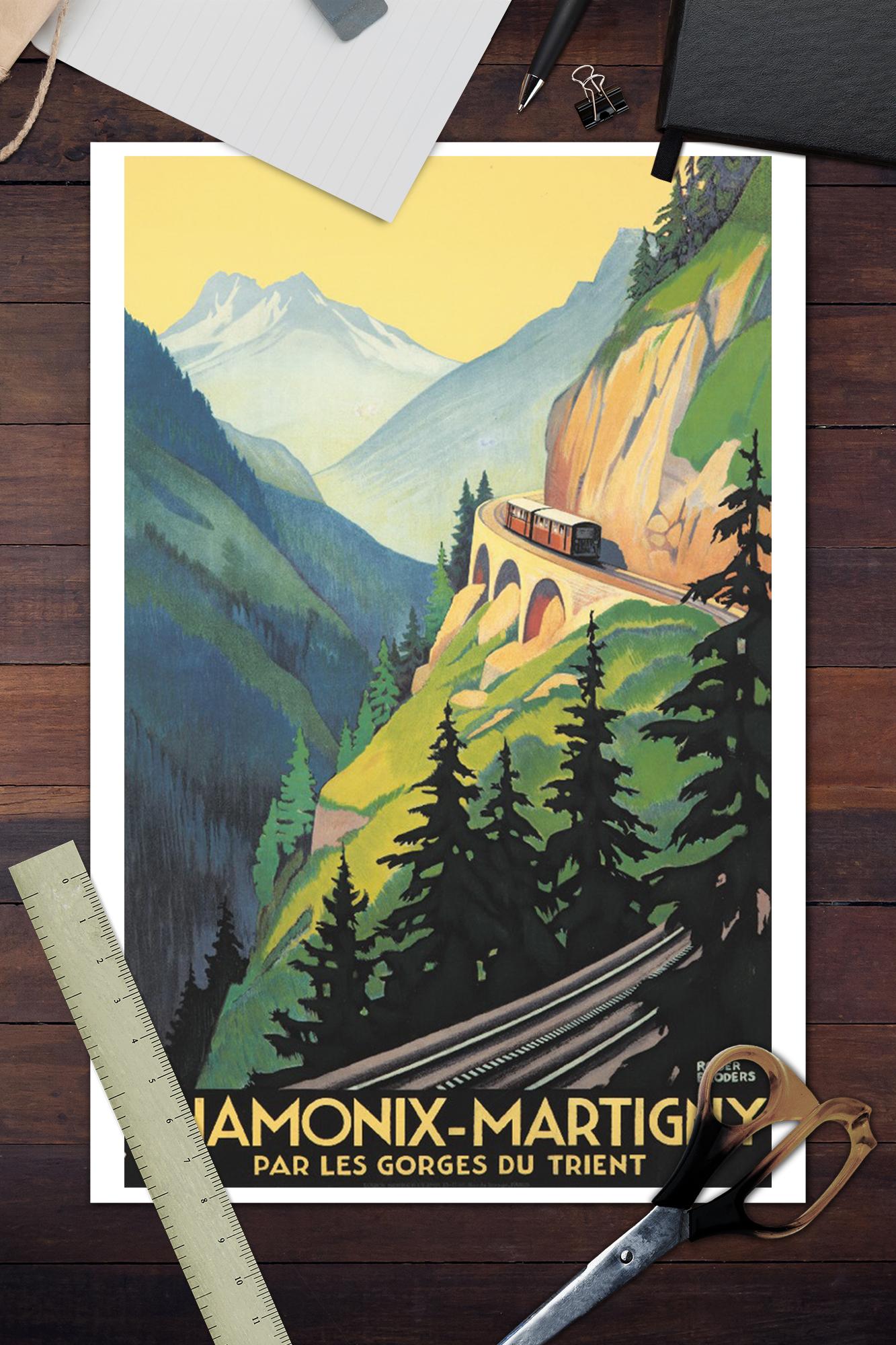 CHAMONIX MARTIGNY VINTAGE TRAVEL POSTER 24x36 BRODERS ART 36136